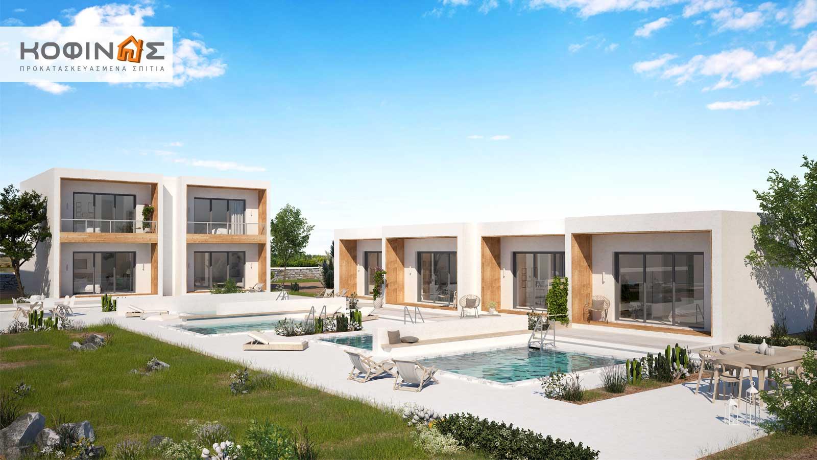 Συγκρότημα Κατοικιών E-40b, συνολικής επιφάνειας οικιών 8×40,04 & κλιμακοστασίων 4×7,70 = 351,12 τ.μ.