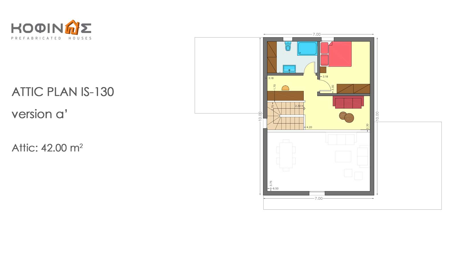 1-story house with attic IS-130, total surface of 130,27 m²