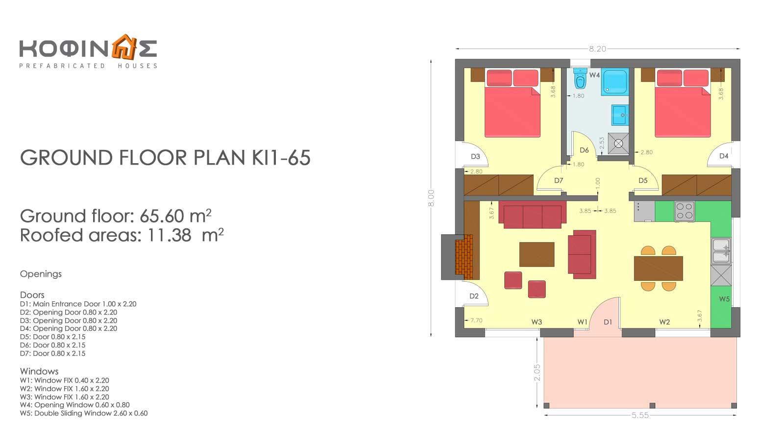 Single story house, KI1-65 (65,60 m²) – Price: 51.200€