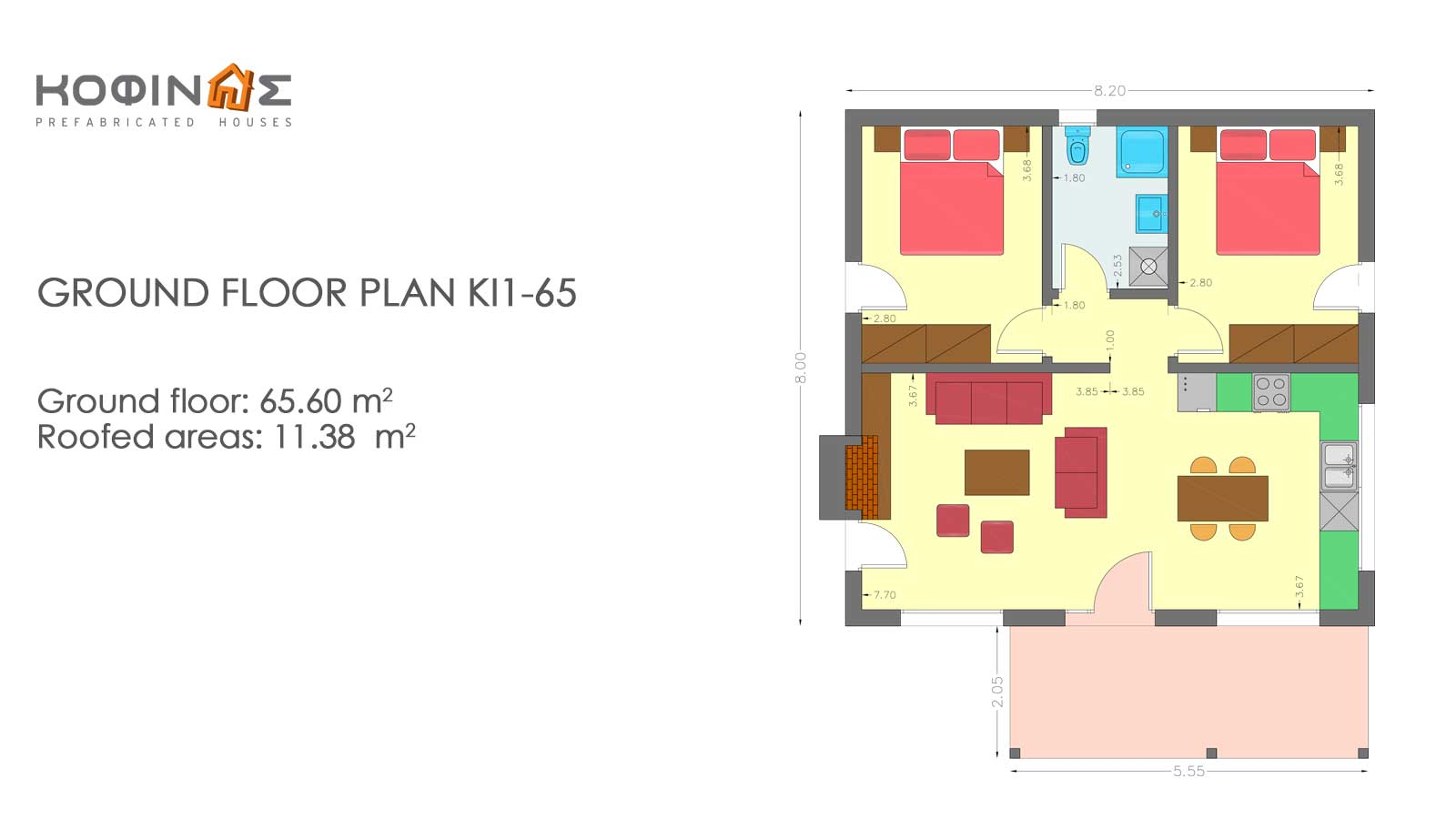 1-story house ΚI1-65, total surface of 65,60 m²