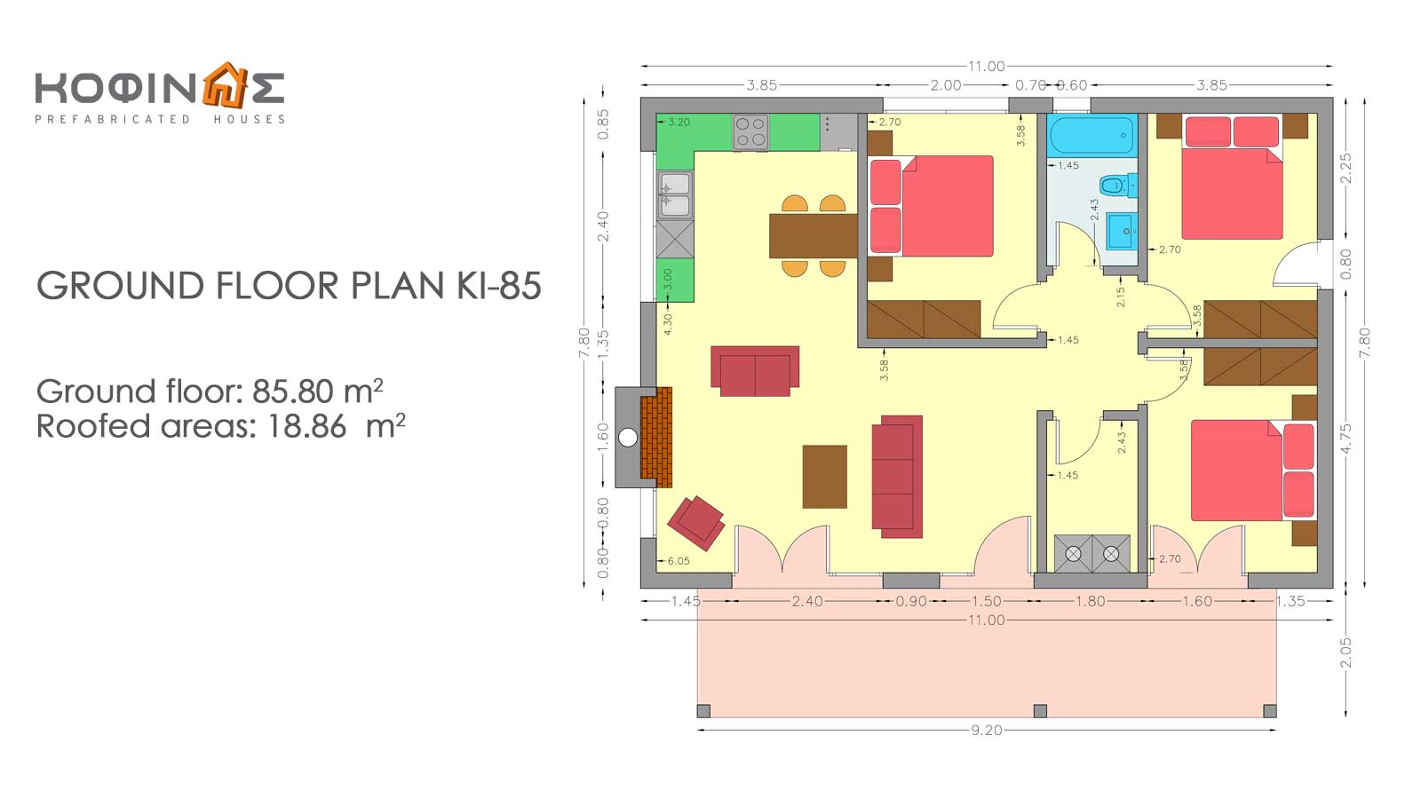1-story house KI-85, total surface of 85,80 m²