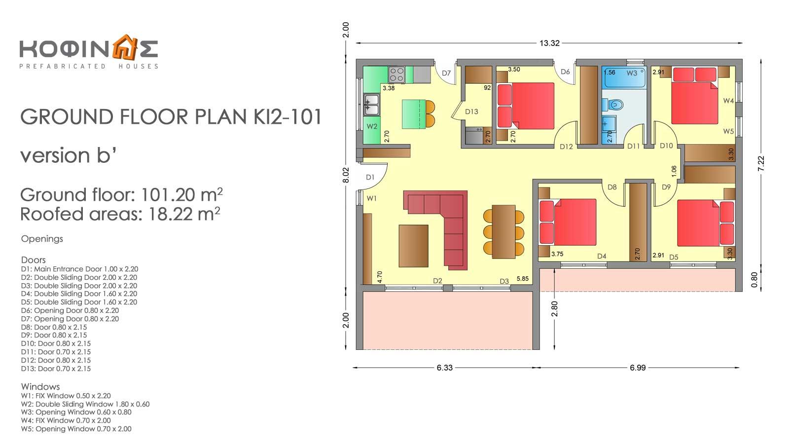 Single story house, KI2-101 (101,20 m²) – Price: 84.300€