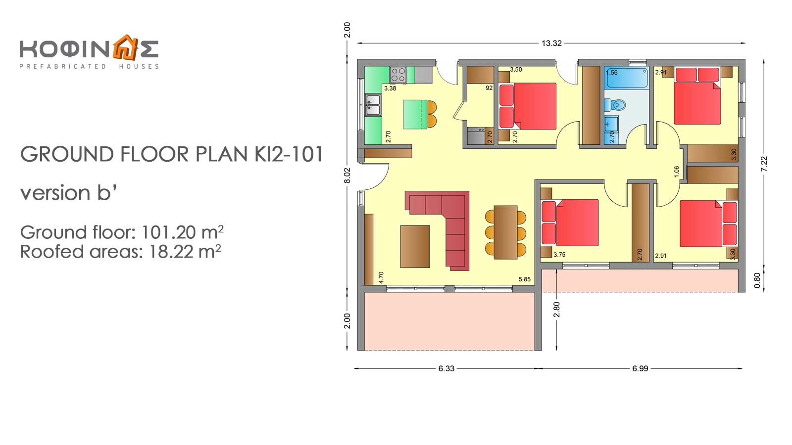 1-story house KI2-101, total surface of 101,20 m²