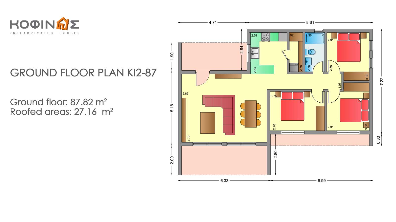 1-story house KI2-87, total surface of 87,82 m²