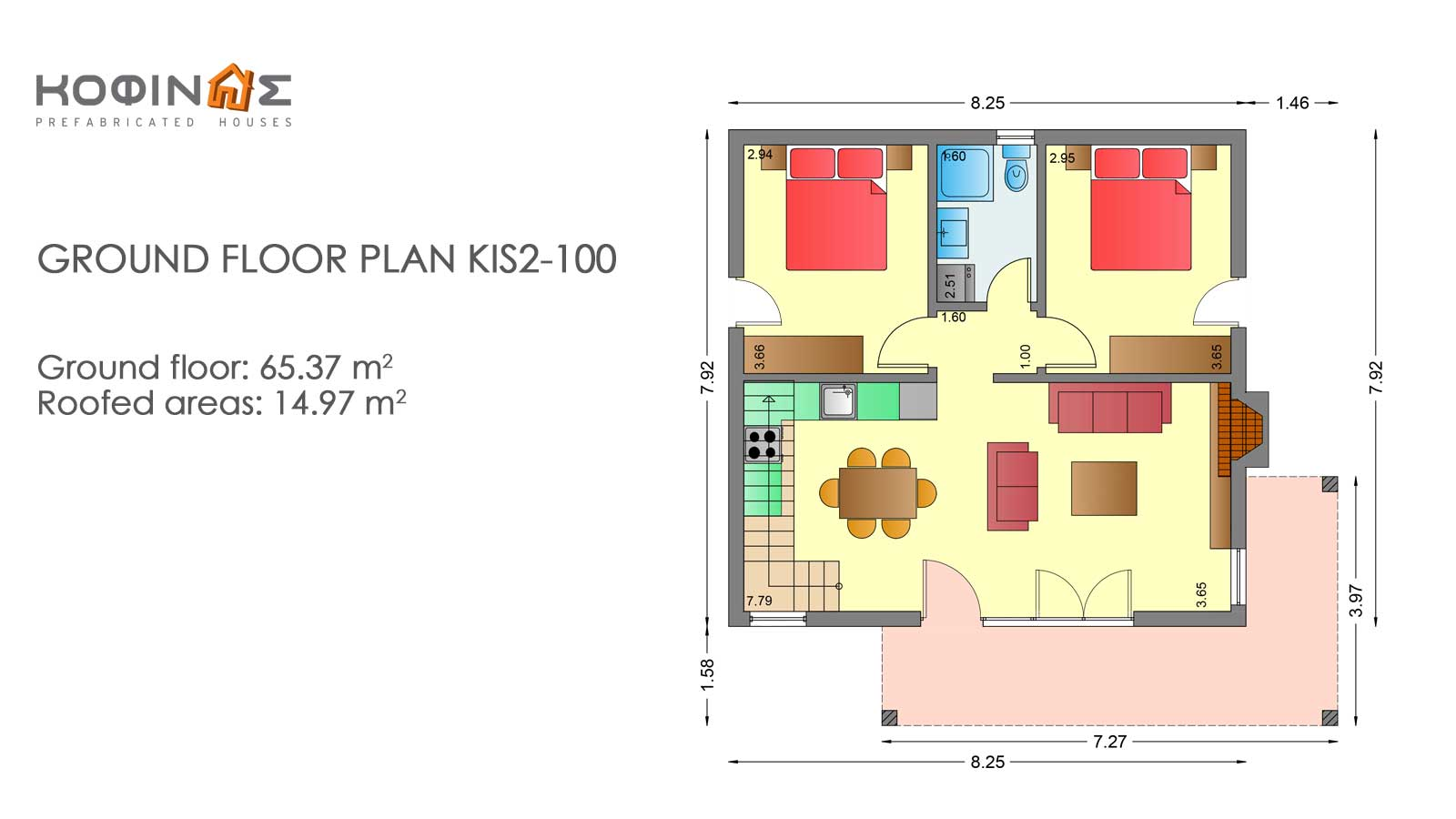1-story house with attic KIS2-100, total surface of 100,37 m²
