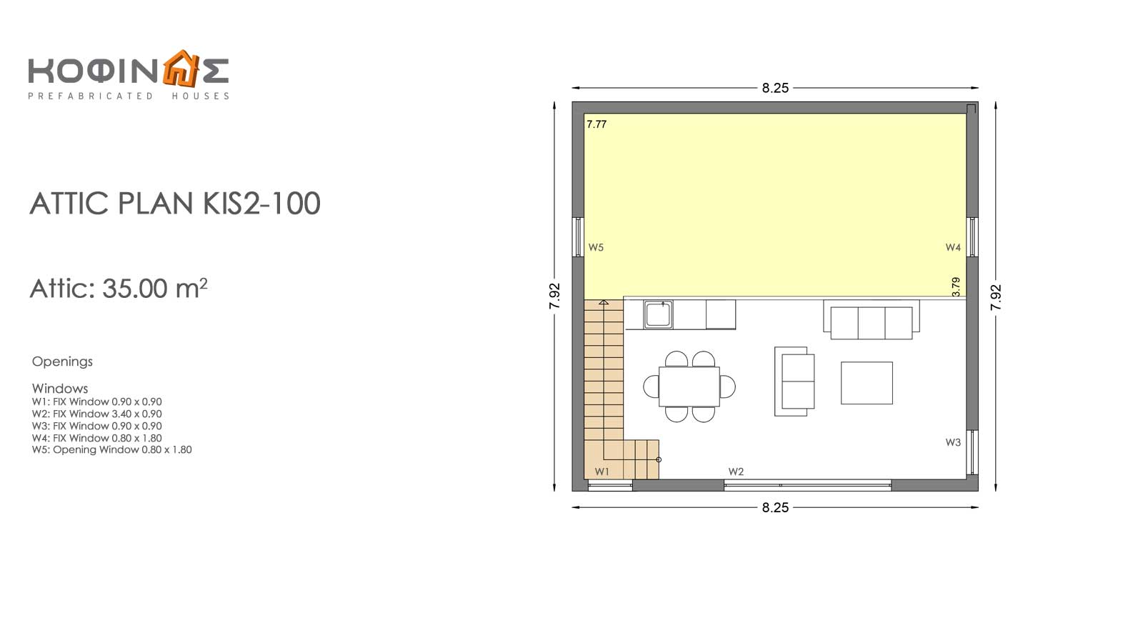Single story house, KIS2-100 (100,37m²) – Price: 99.500€