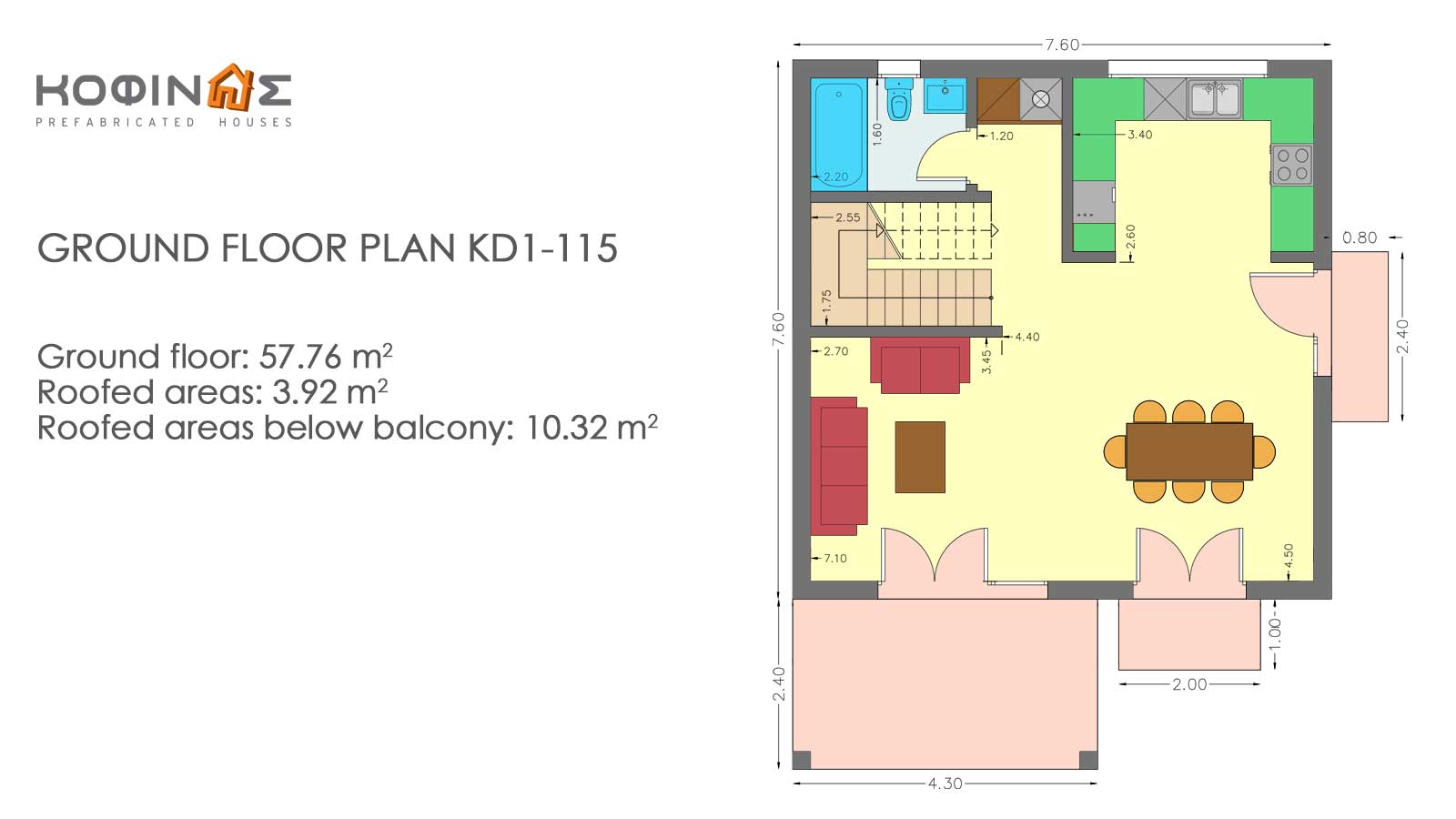 2-story house KD1-115, total surface of 115,52 m²