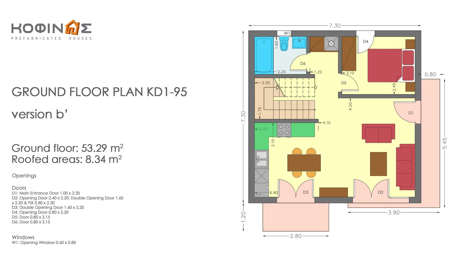 Two story house, KD1-95 (95,70 m²) – Price: 85.200€