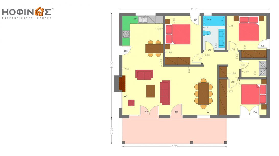 1-story house KI1-100, total surface of 100,38 m²