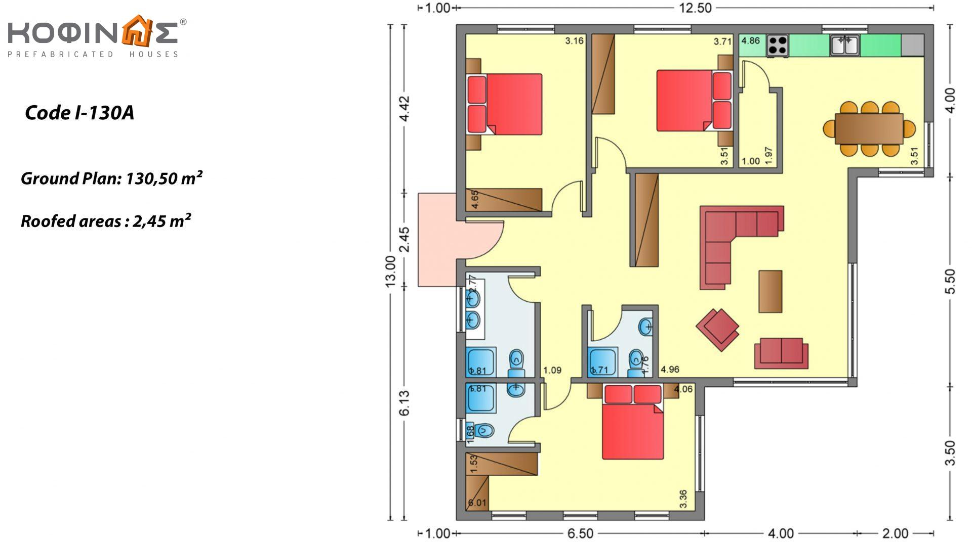 1-story house Ι-130Α, total surface of 130,50 m², roofed areas 2,45 m²