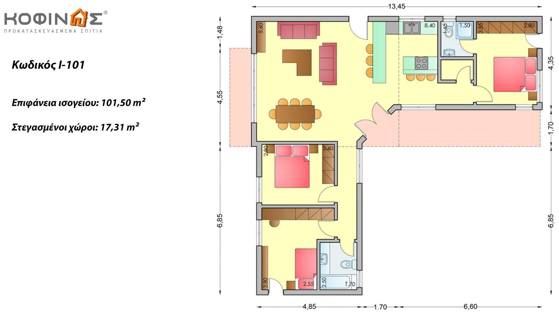 Ισόγεια Κατοικία I-101 συνολικής επιφάνειας 101,50 τ.μ., στεγασμένοι χώροι 17,31 τ.μ