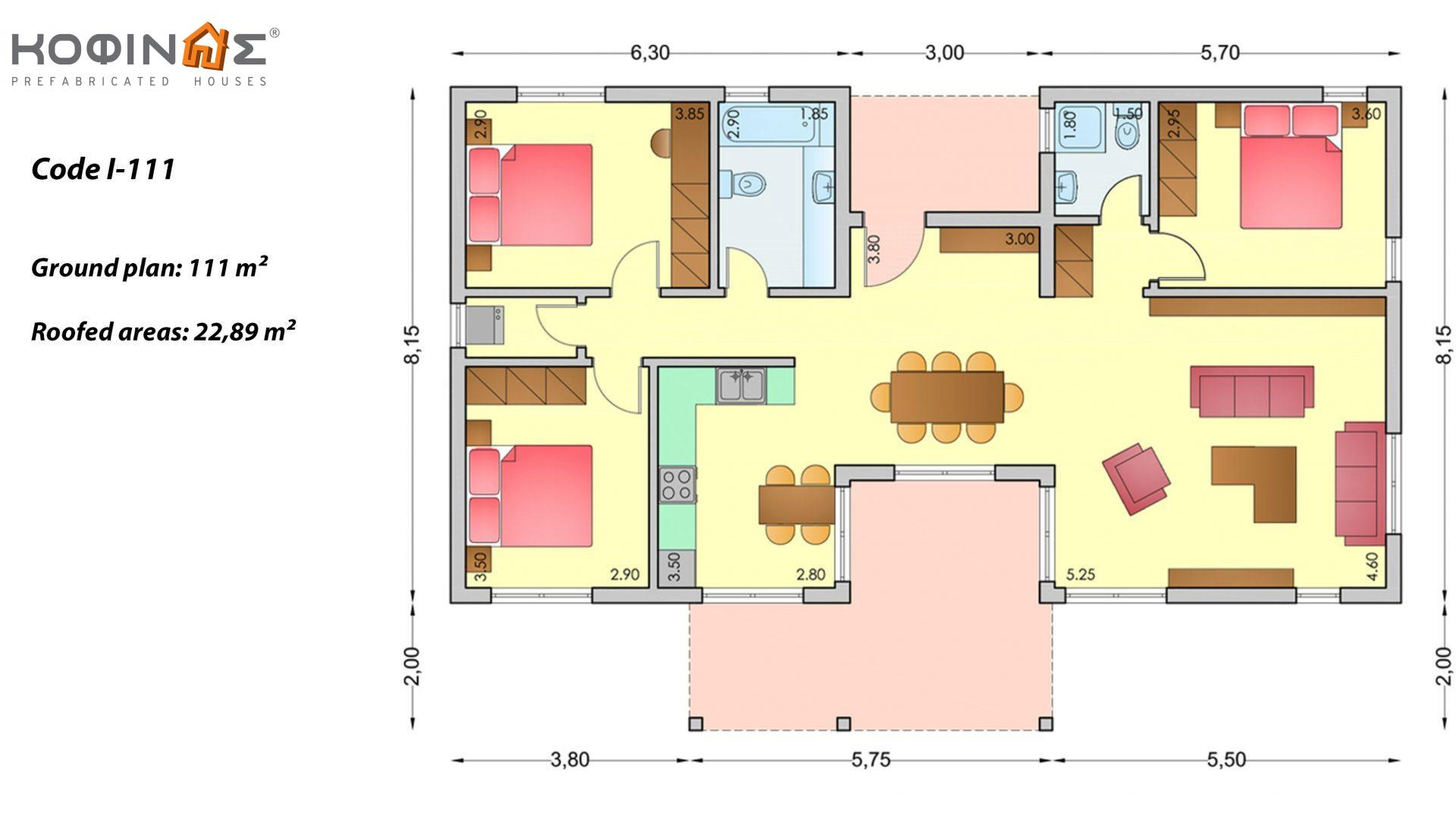 1-story house I-111, total surface of 111 m², roofed areas 22,89 m²
