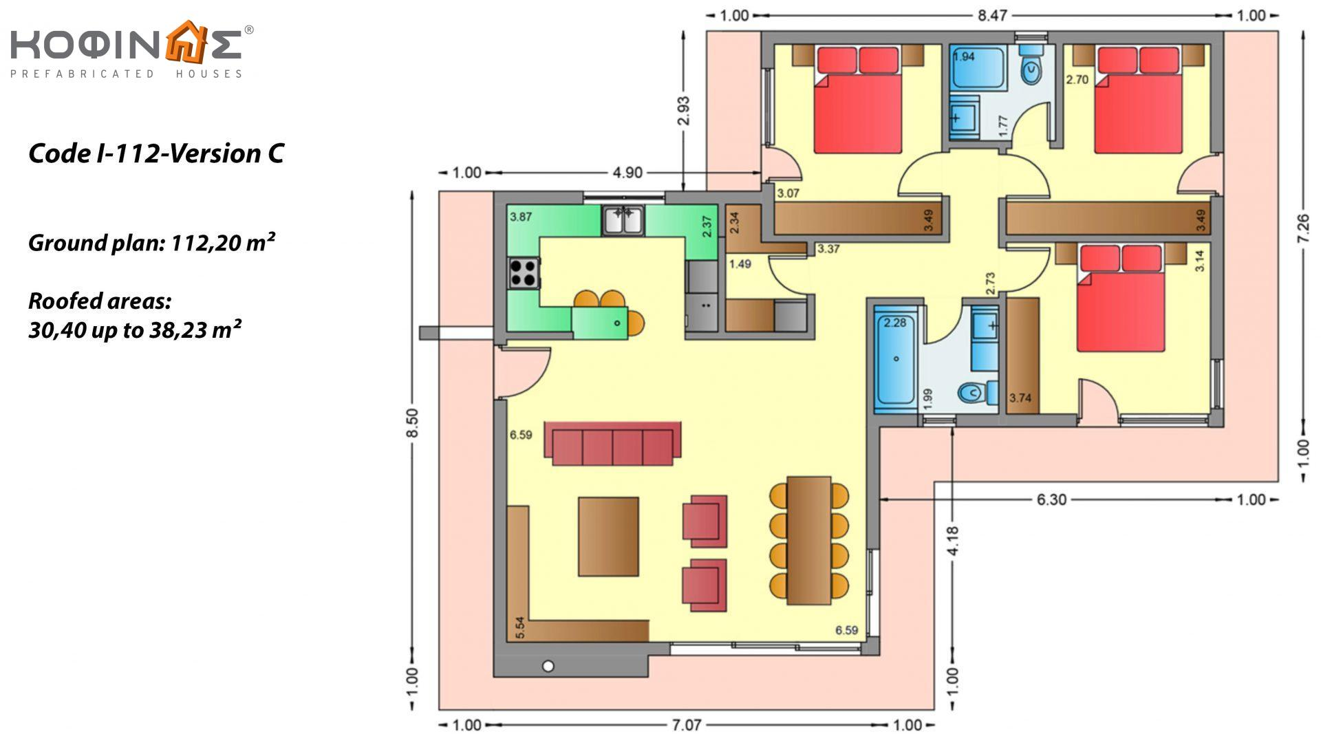 1-story house I-112, total surface of 112,20 m², roofed areas 30,40 m²