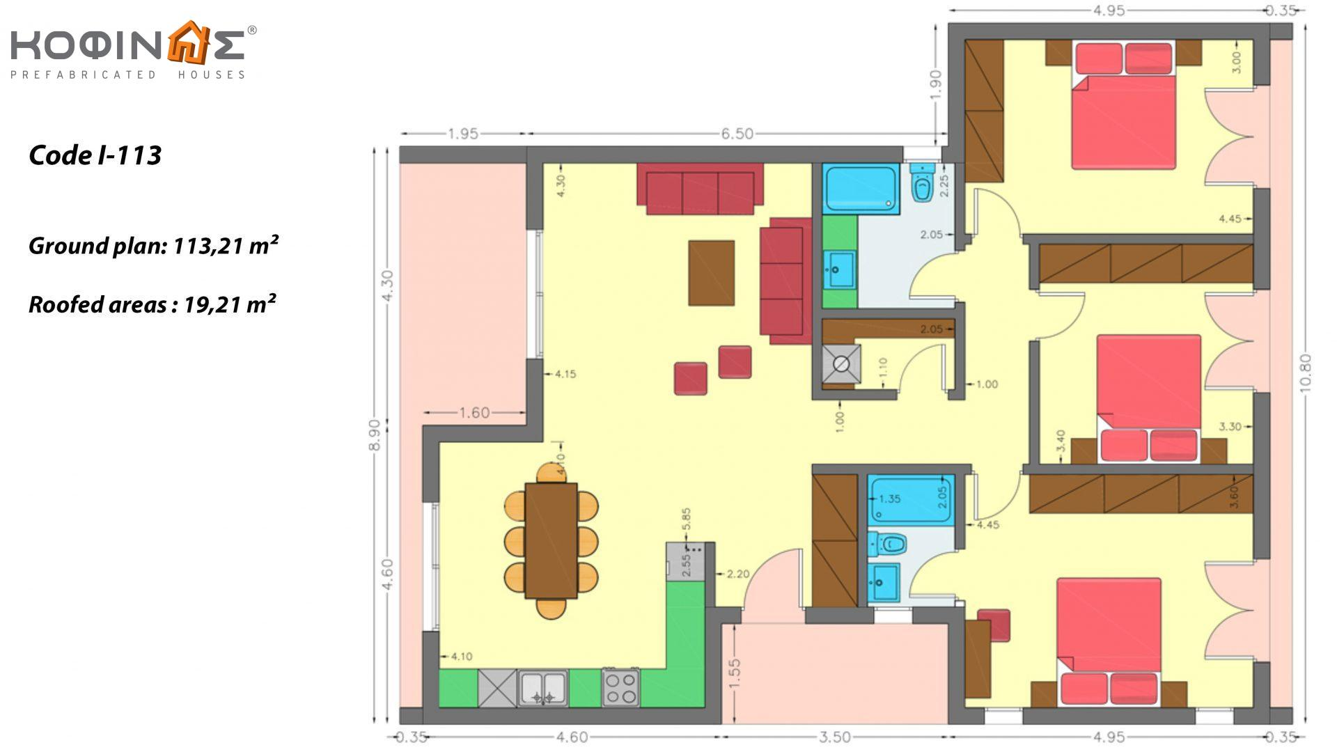 1-story house I-113, total surface of 113,21 m², roofed areas 19,21 m²