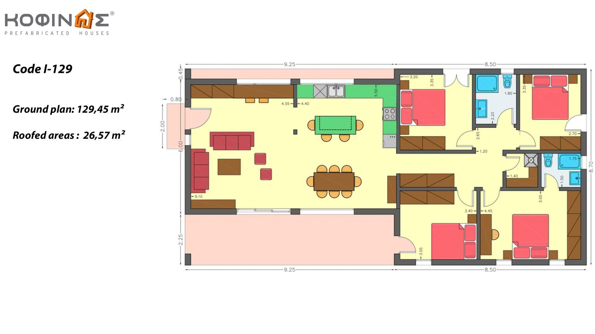 1-story house I-129, total surface of 129,45 m², roofed areas 26.57 m²