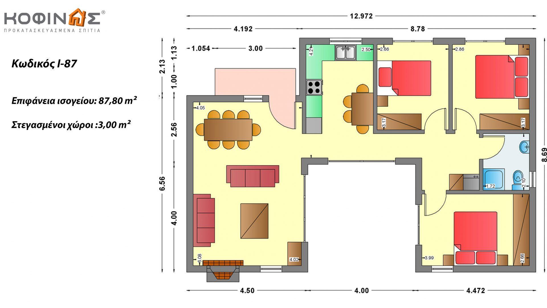 Ισόγεια Κατοικία I-87 συνολικής επιφάνειας 87,80 τ.μ., στεγασμένοι χώροι 3,00 τ.μ