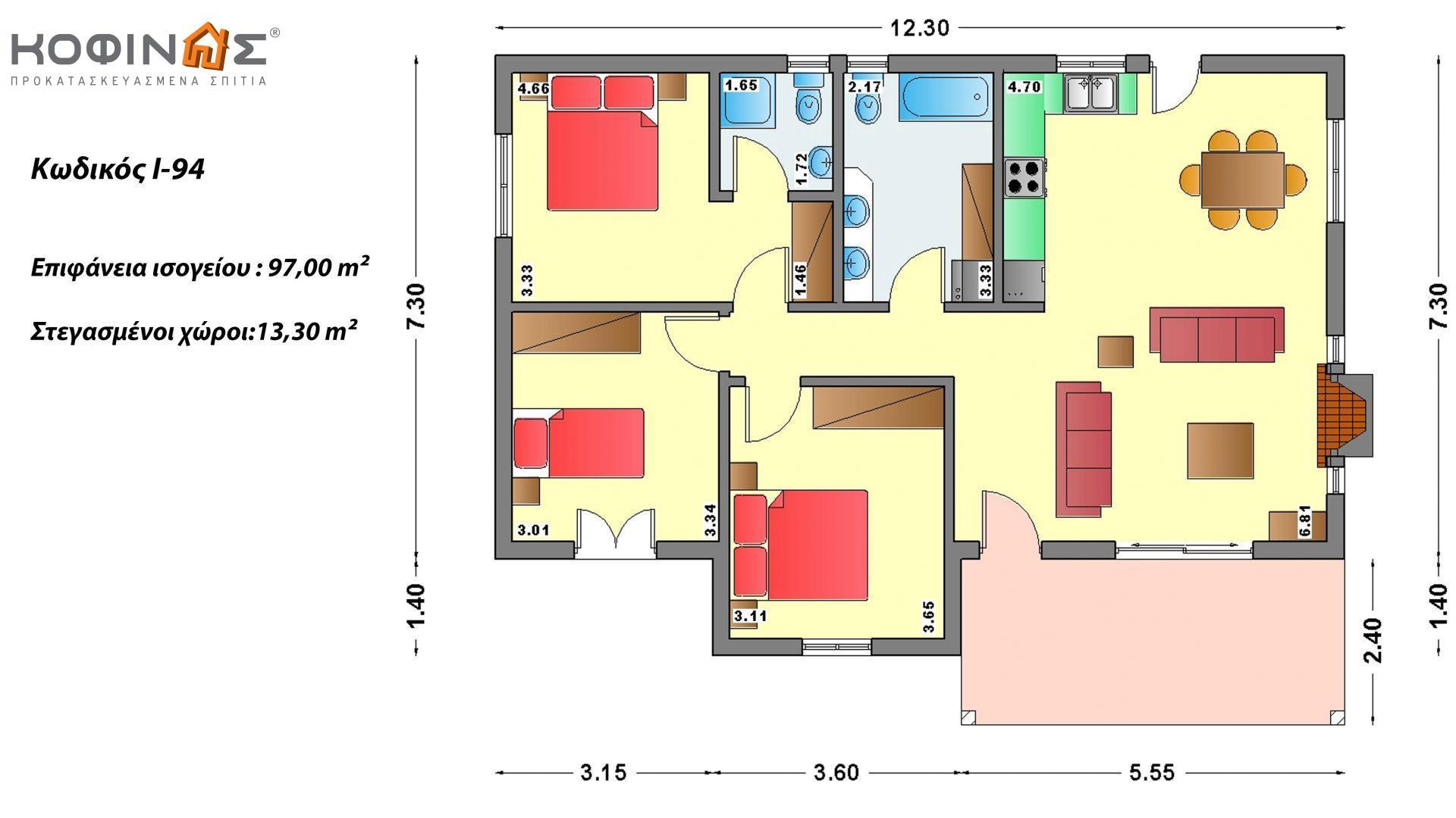 Ισόγεια Κατοικία I-94 συνολικής επιφάνειας 94,80 τ.μ., στεγασμένοι χώροι 13,30 τ.μ