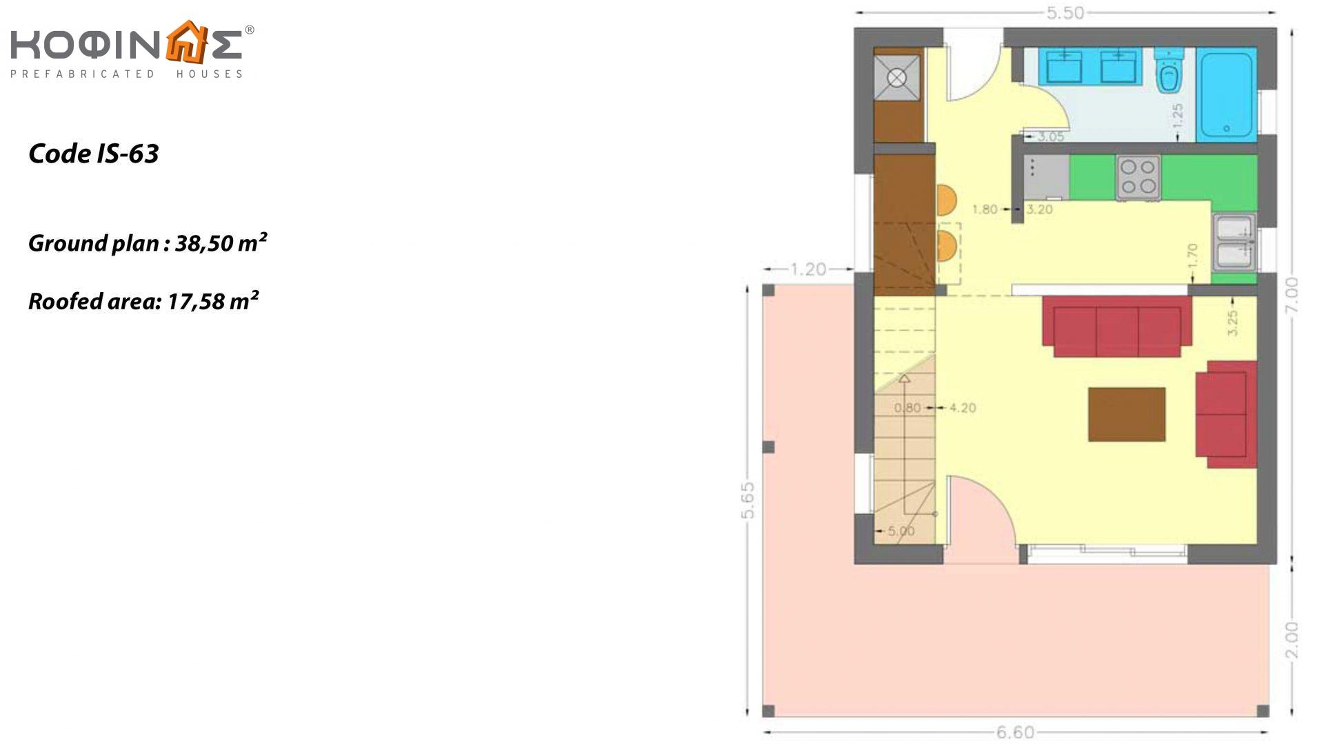 1-story house with attic IS-63, total surface of 63,65 τ.μ. ,roofed areas 17,58 m²