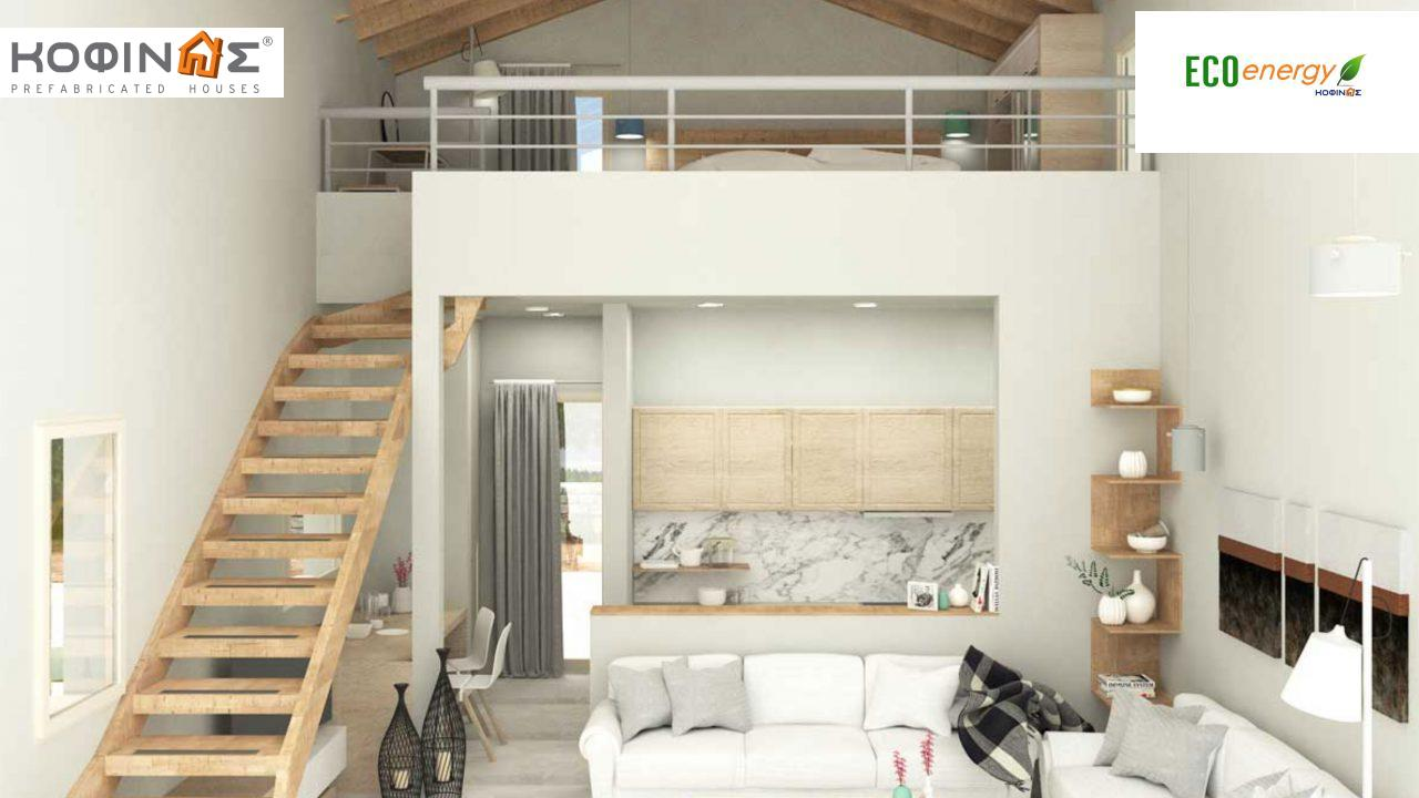 1-story house with attic IS-63, total surface of 63,65 τ.μ. ,roofed areas 17,58 m²0