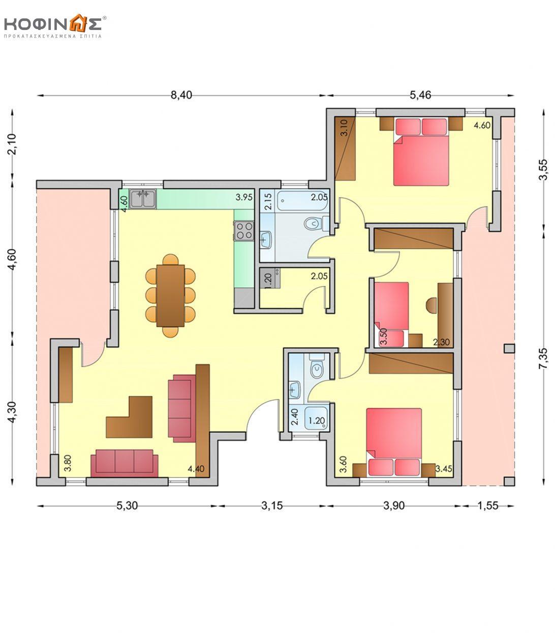 Ισόγεια Κατοικία I-106b, συνολικής επιφάνειας 106,20 τ.μ.