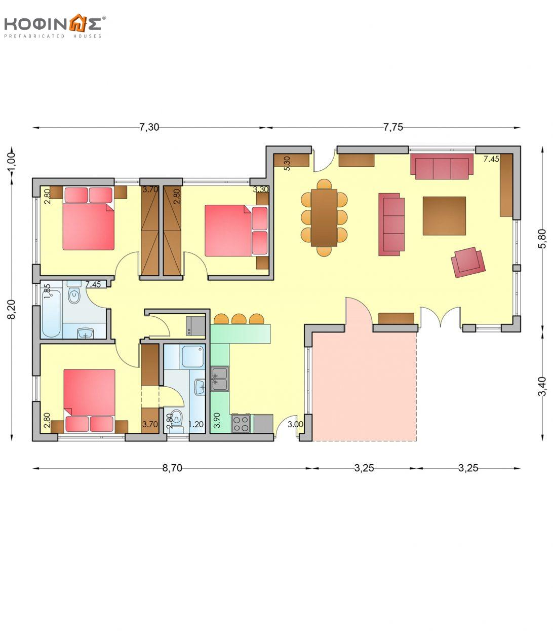 1-story house I-110, total surface of 110,70 m²