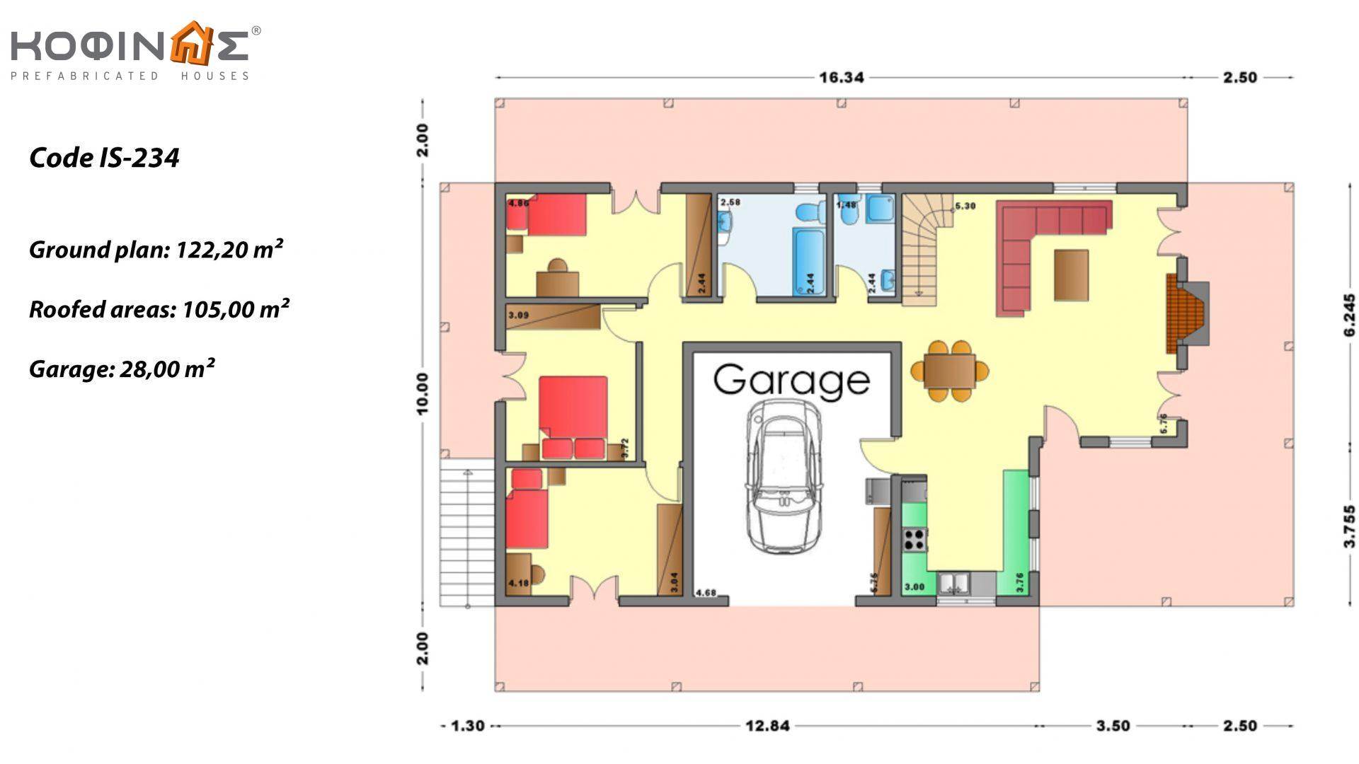 1-story house with attic IS-234, total surface of 234,80 m², +Garage 28.00 m²(=262,80 m²),roofed areas 105,00 m²