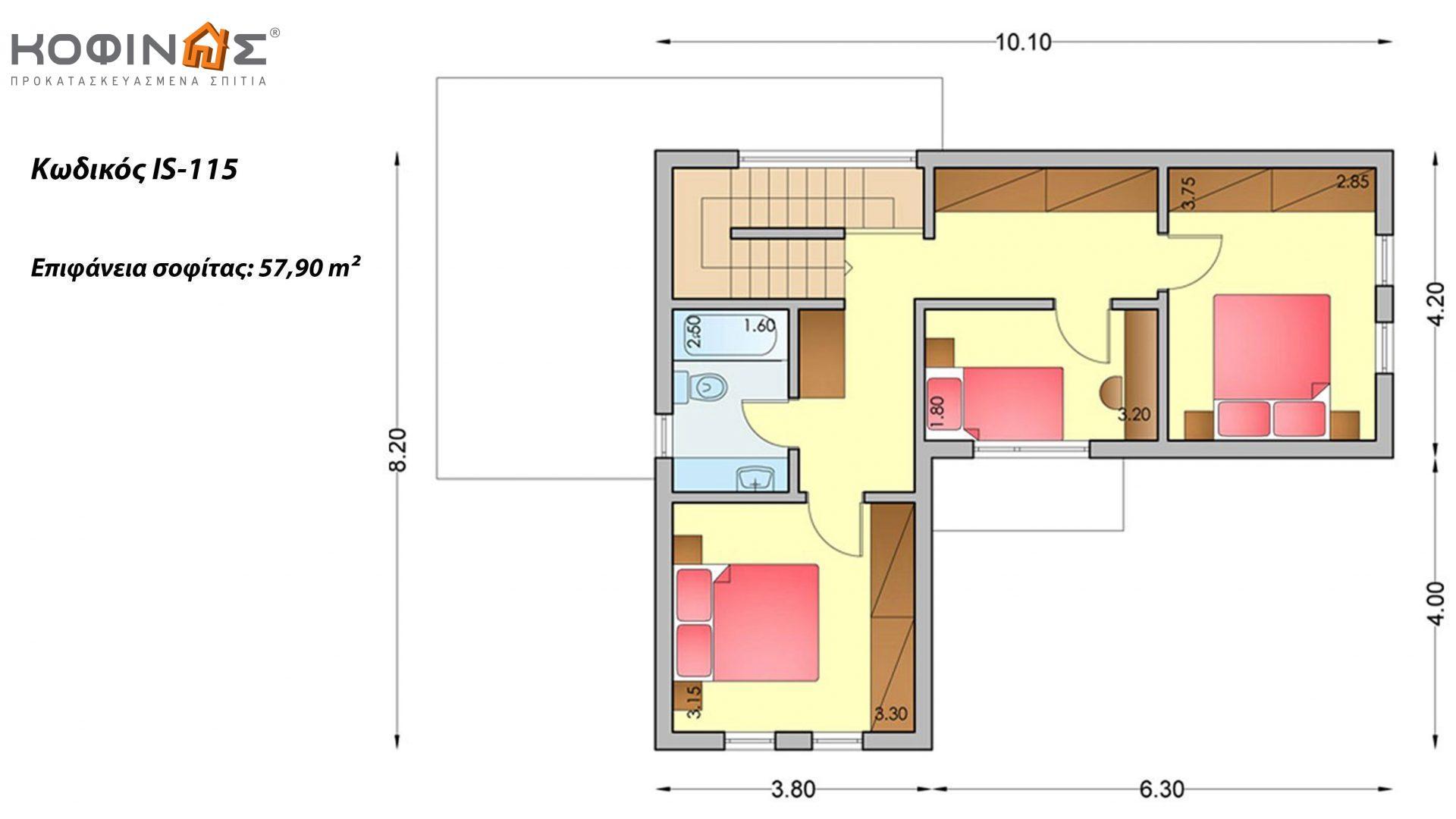 Ισόγεια Κατοικία με Σοφίτα IS-115, συνολικής επιφάνειας 115,80 τ.μ. ,συνολική επιφάνεια στεγασμένων χώρων 23,03 τ.μ.