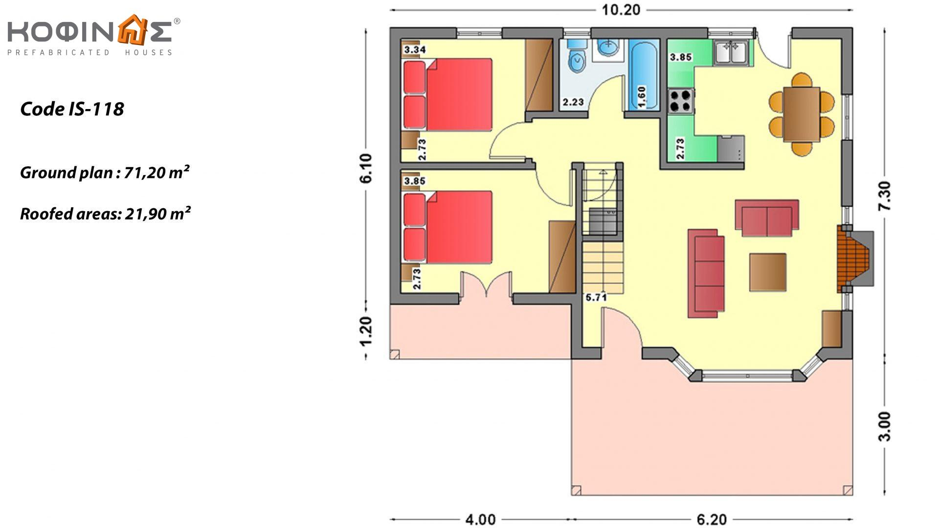1-story house with attic IS-118, total surface of 118,20 m² ,roofed areas 21,90 m²