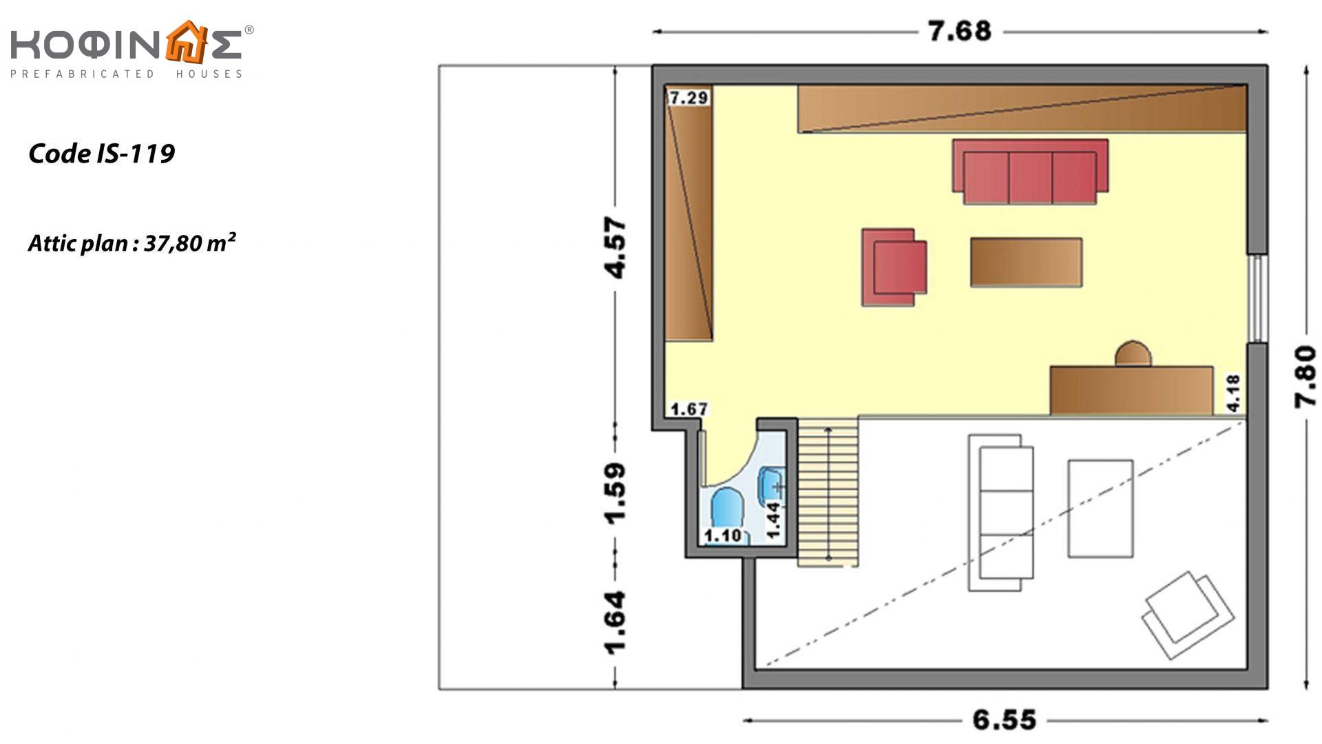 1-story house with attic IS-119, total surface of 119,70 m² ,roofed areas 27,70 m²