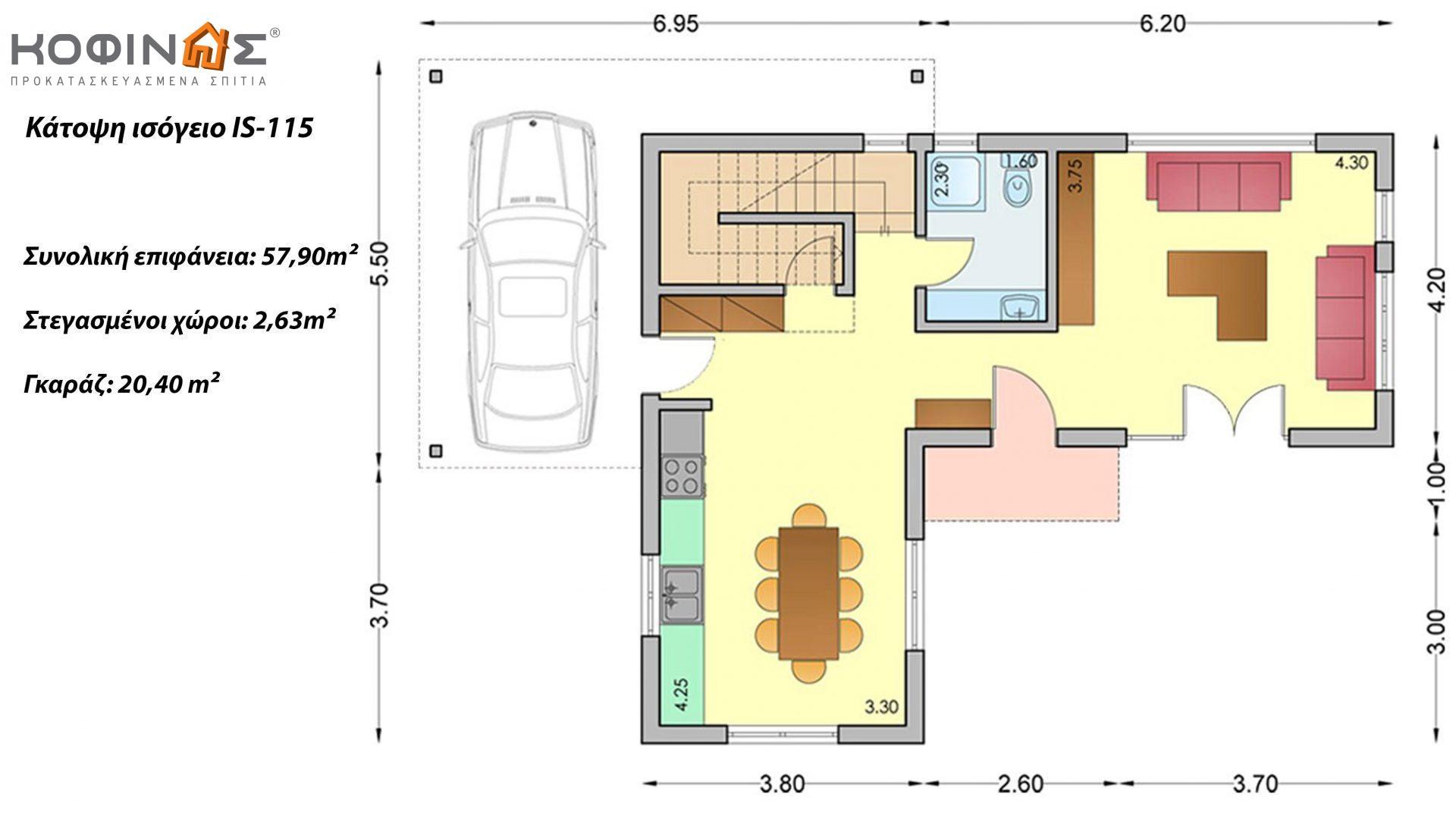 Ισόγεια Κατοικία με Σοφίτα IS-115, συνολικής επιφάνειας 115,80 τ.μ.