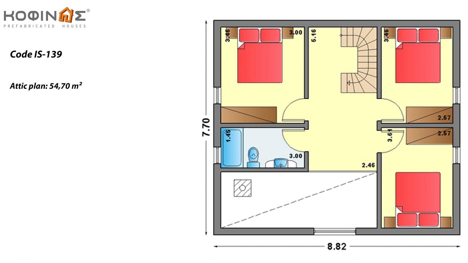 1-story house with attic IS-139, total surface of 139,70 m²,roofed areas 21,25 m²