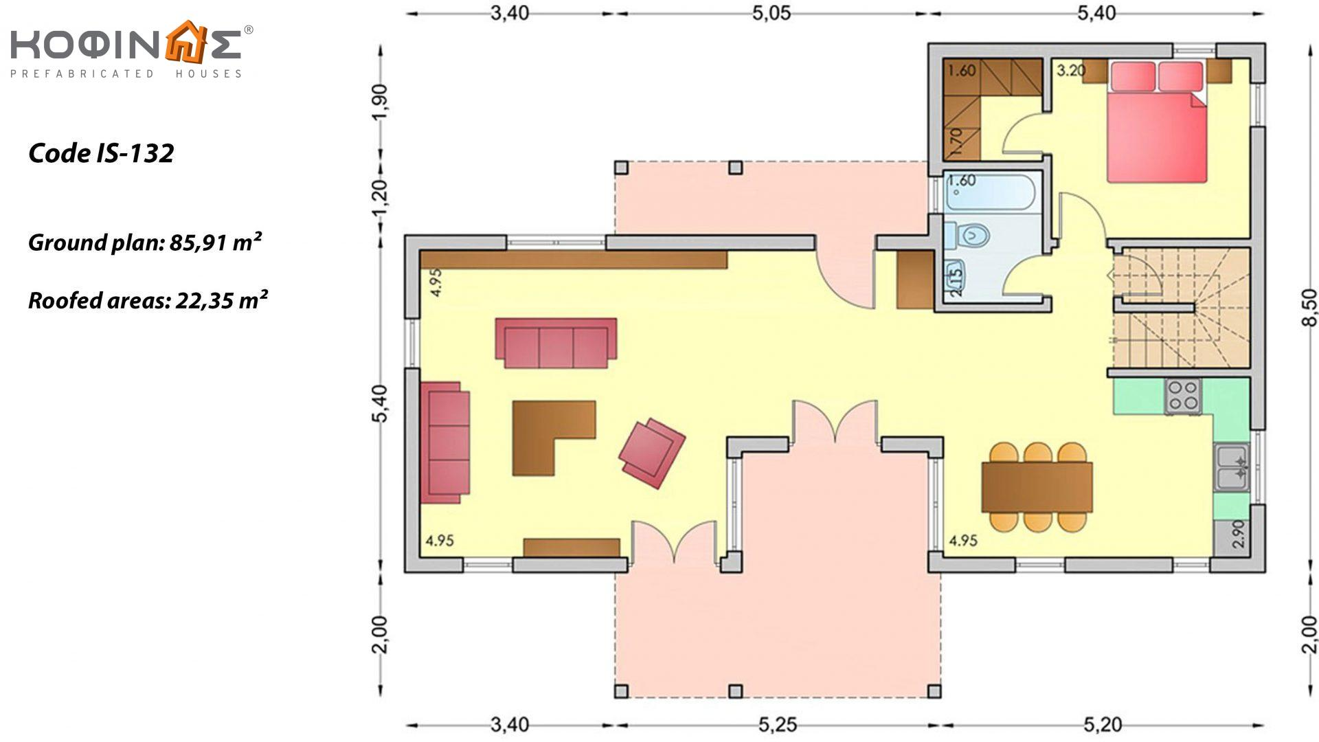 1-story house with attic IS-132, total surface of 132,00 m²,roofed areas 22,35 m², Attic's balcony 39.81 m²