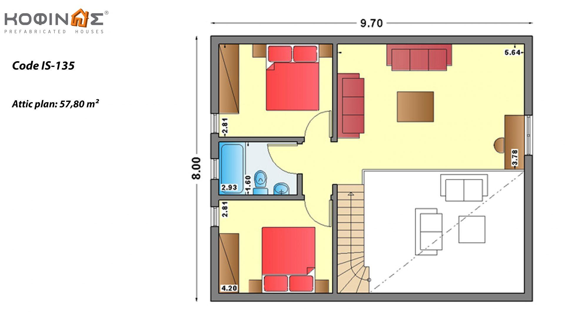 1-story house with attic IS-135, total surface of 135,40 m² ,roofed areas 31,00 m²