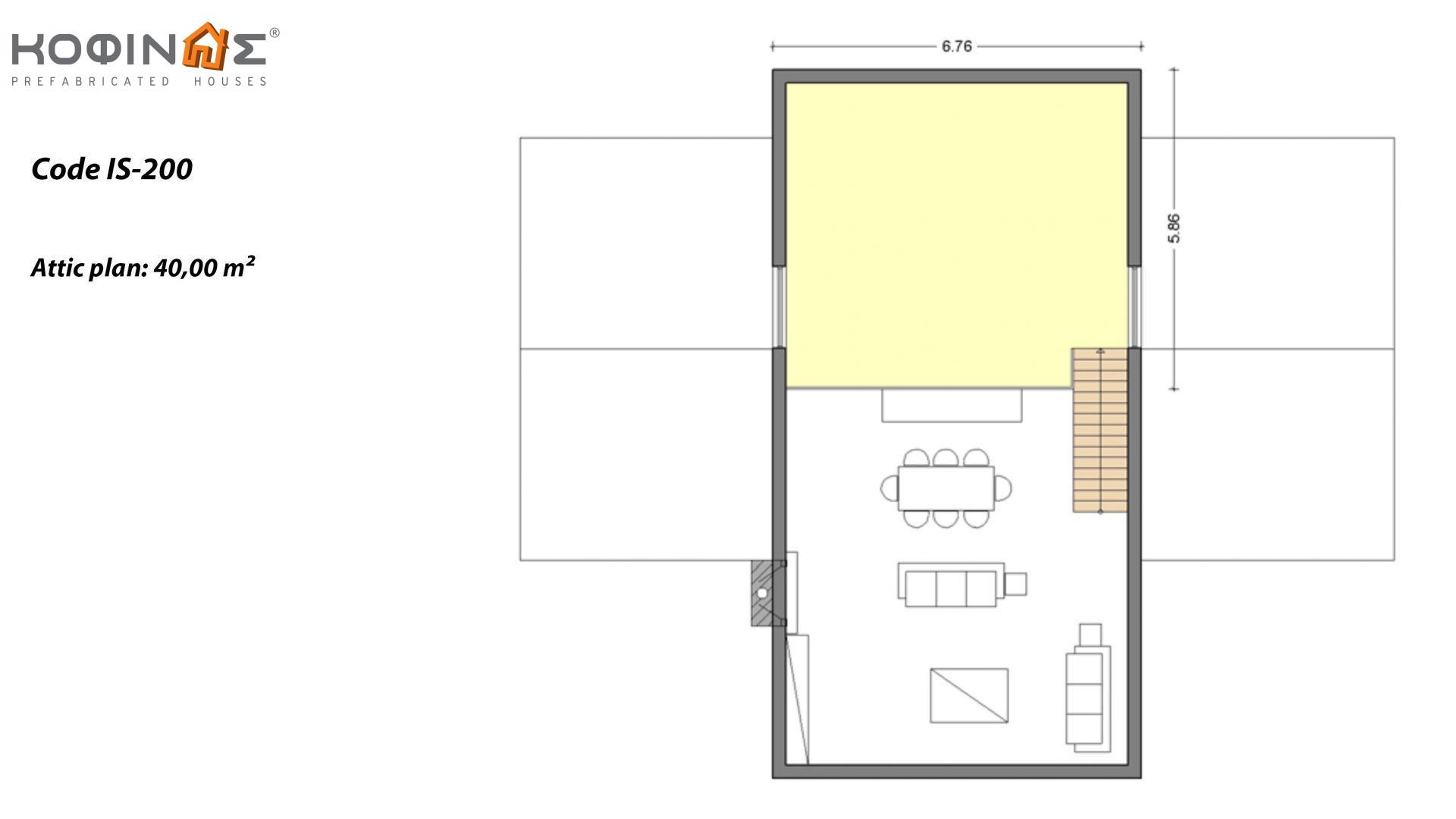 1-story house with attic IS-200, total surface of 200,00 m²,roofed areas 2,50 m²