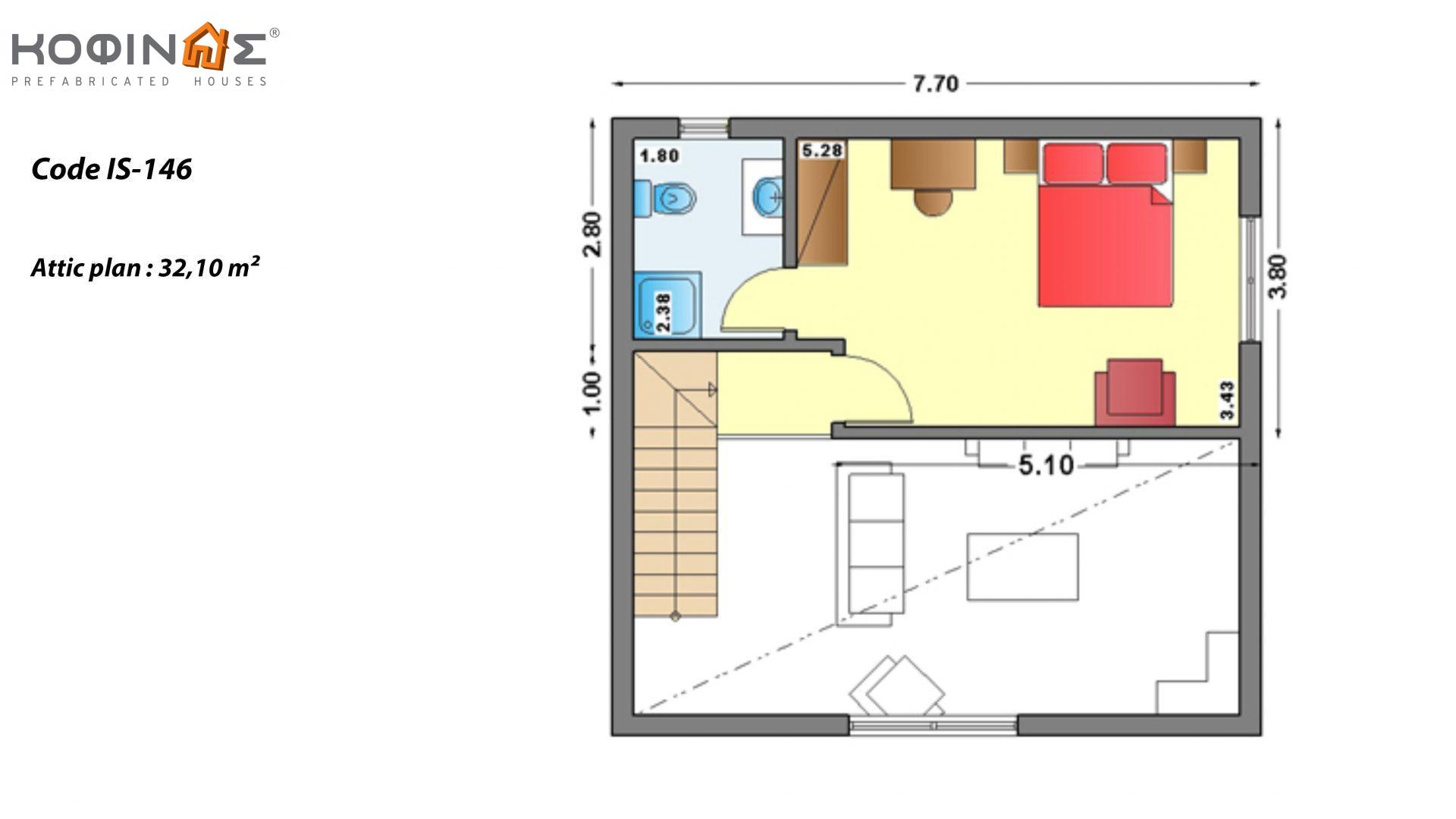 1-story house with attic IS-146, total surface of 146,60 m², roofed areas 61,60 m²