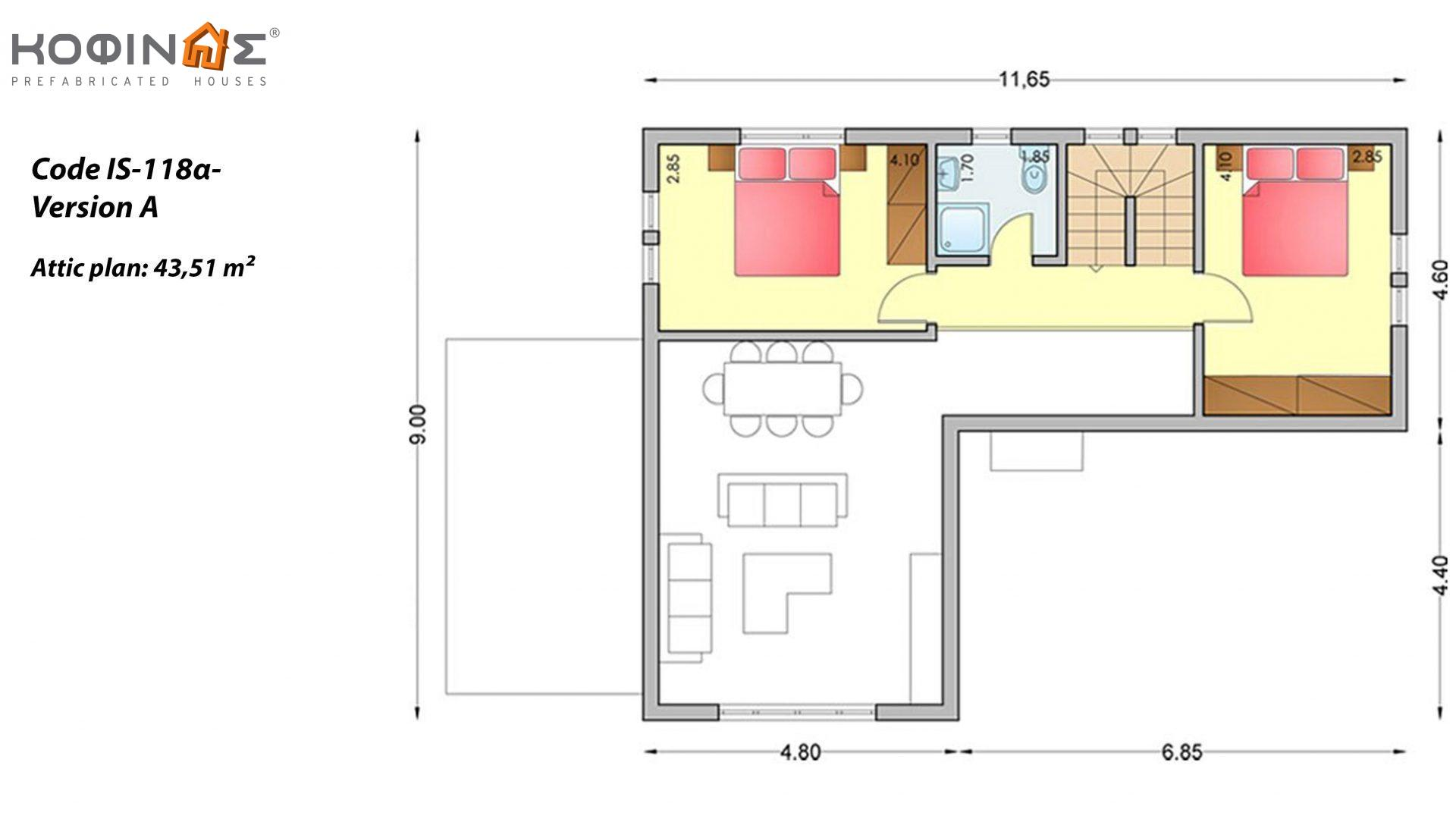 1-story house with attic IS-118a, total surface of 118,22 m² ,roofed areas 18,25 m²