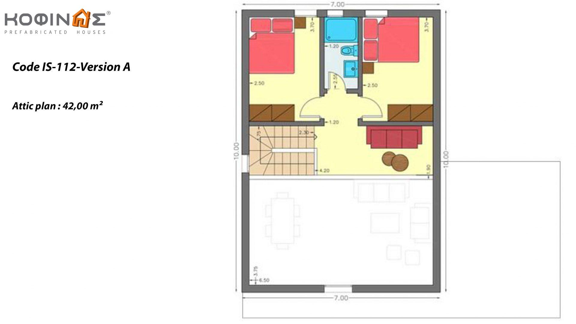 1-story house with attic IS-112, total surface of 112,00 m² ,roofed areas 6,30 m²