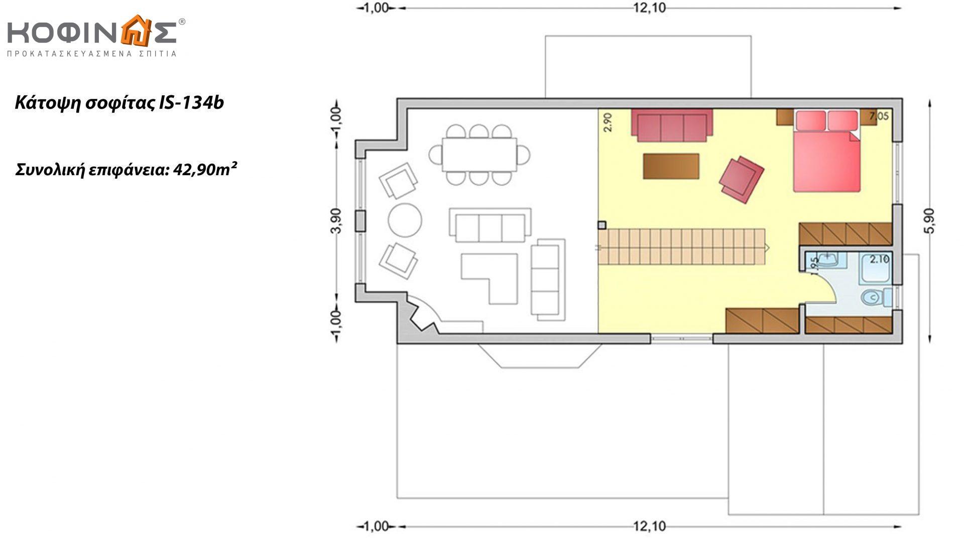 Ισόγεια Κατοικία με Σοφίτα IS-134b, συνολικής επιφάνειας 134,25 τ.μ.