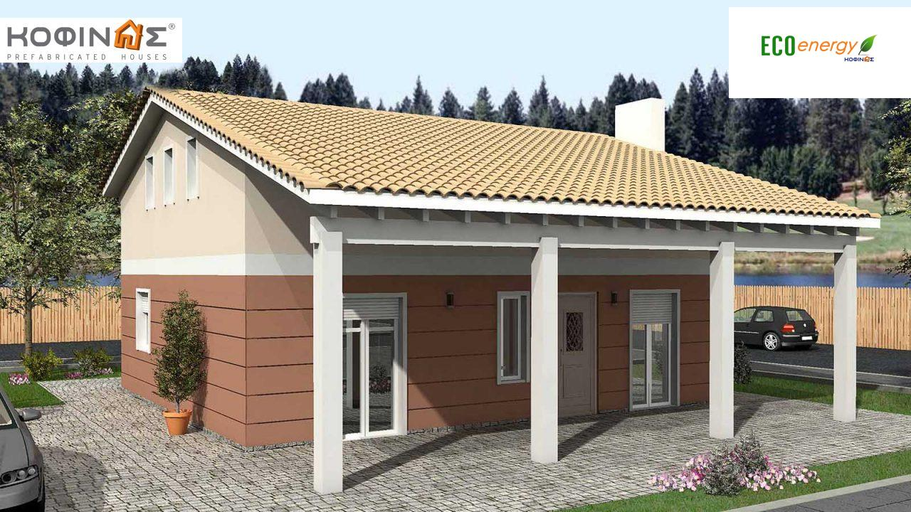 1-story house with attic IS-135, total surface of 135,40 m² ,roofed areas 31,00 m² featured image