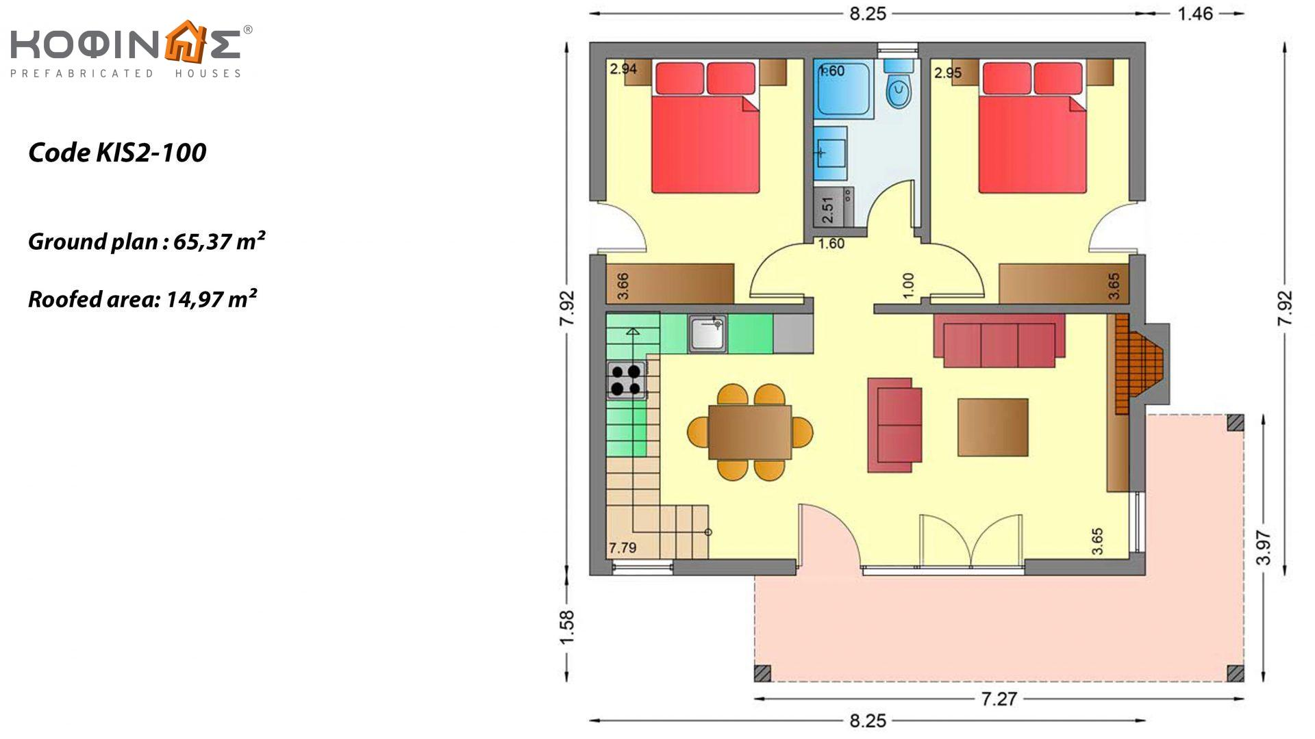 1-story house with attic KIS2-100, total surface of 100,37 m² ,roofed areas 14,97 m²