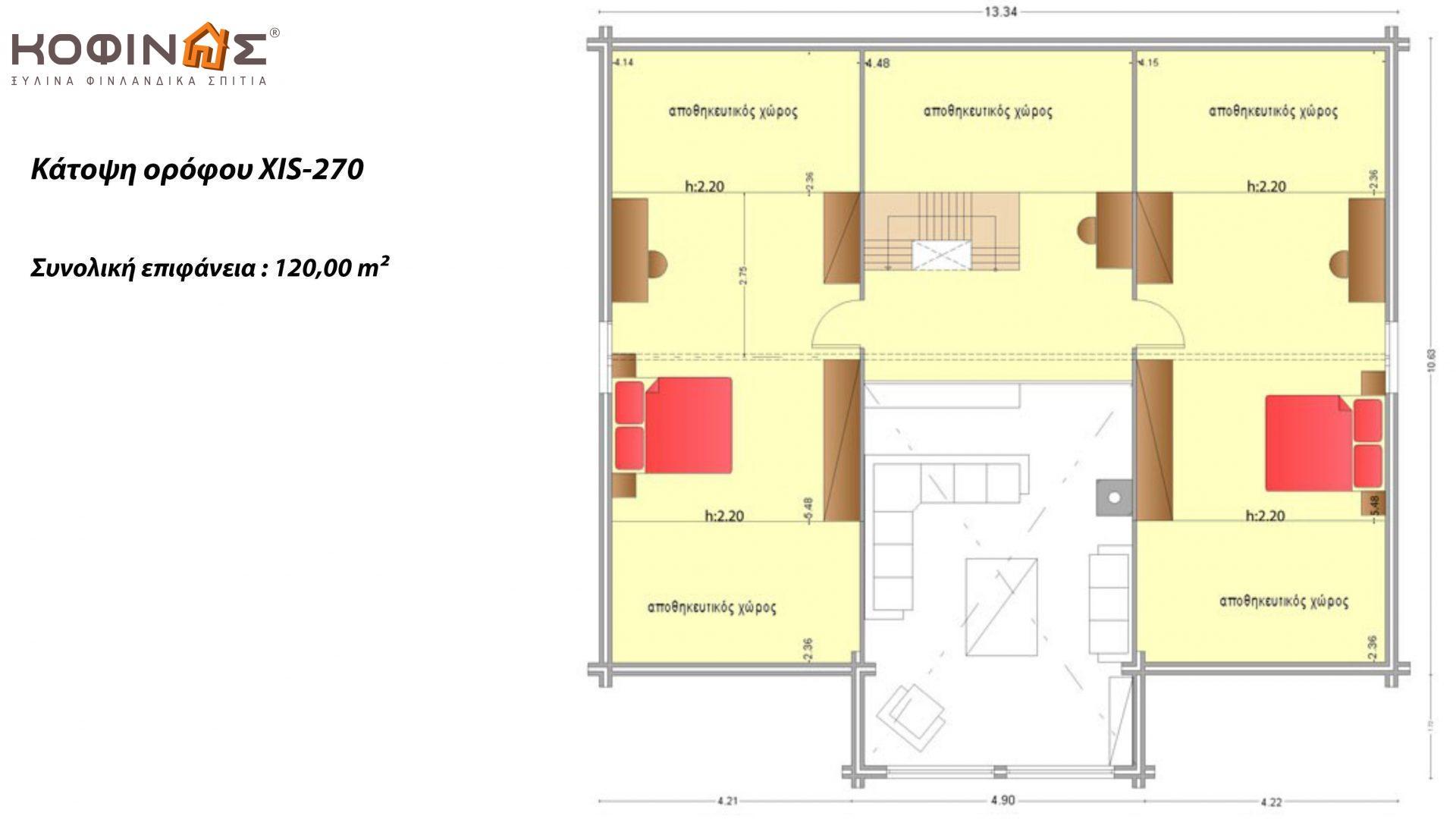 Ισόγεια Ξύλινη Κατοικία με σοφίτα XIS-270, συνολικής επιφάνειας 270,20 τ.μ.