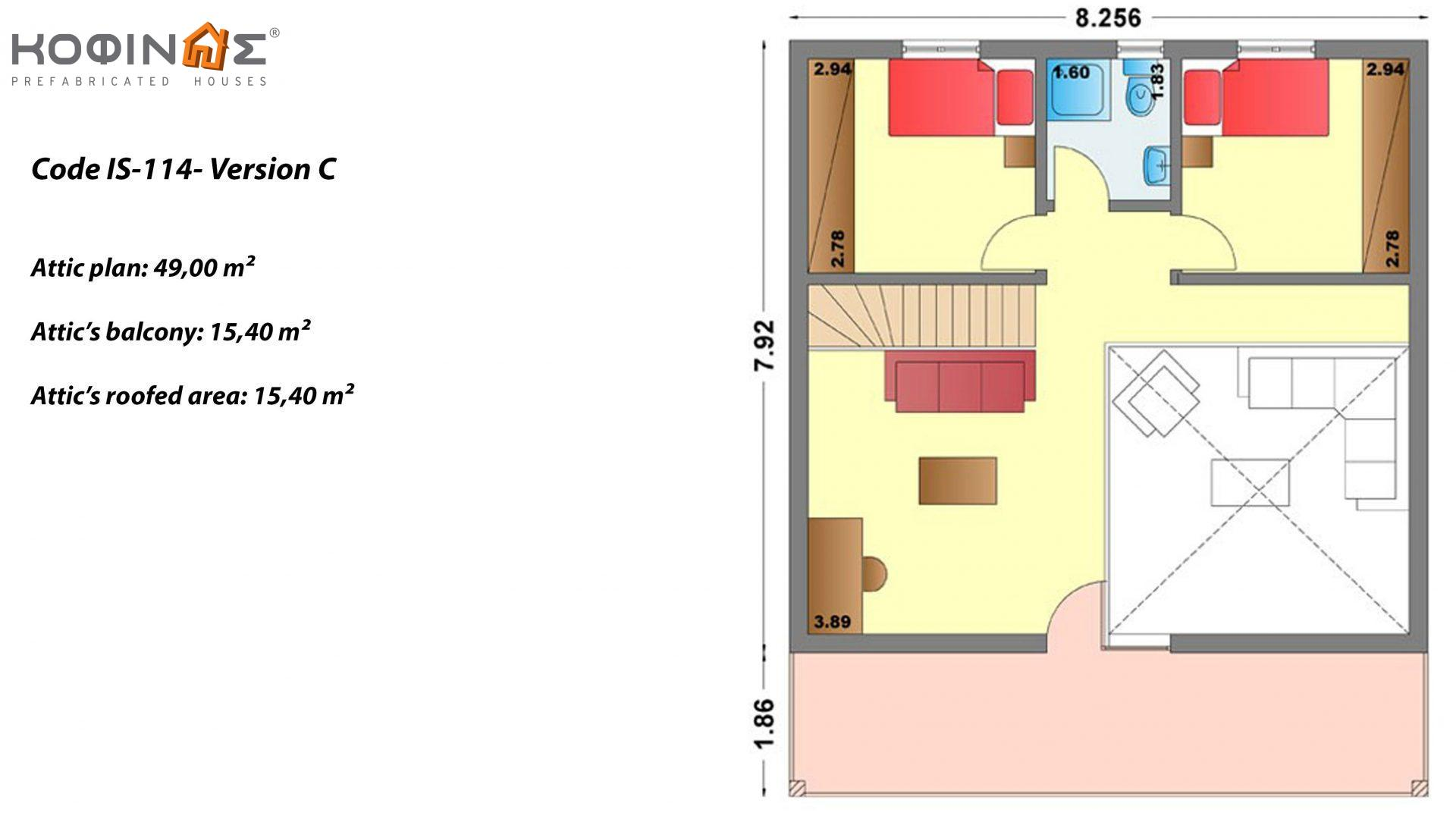 1-story house with attic IS-114, total surface of 114,40 m² ,totalling roofed areas  30,80 m², Attic's balcony 15,40 m²