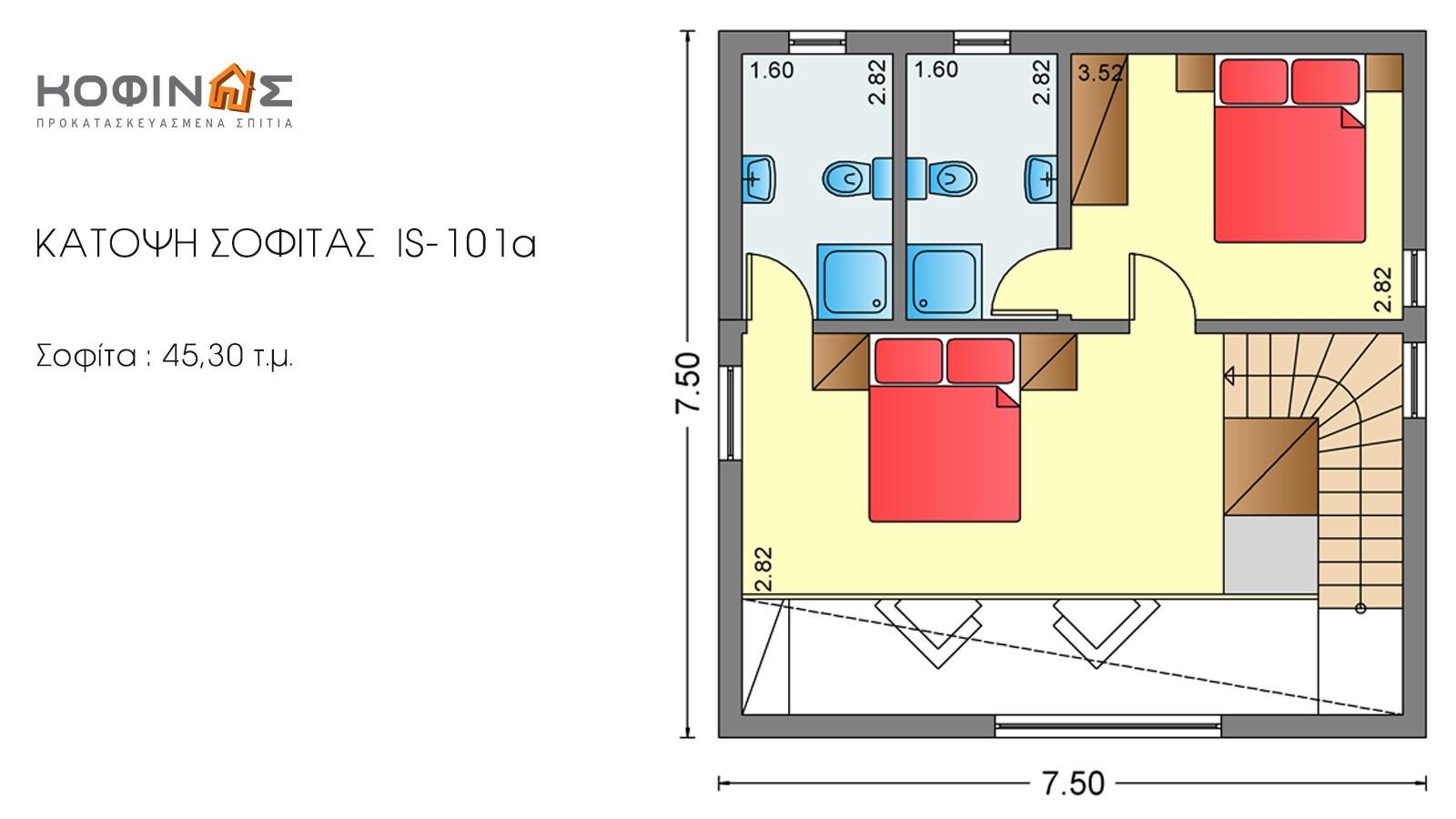 Ισόγεια Κατοικία με Σοφίτα IS-101a, συνολικής επιφάνειας 101,60 τ.μ.