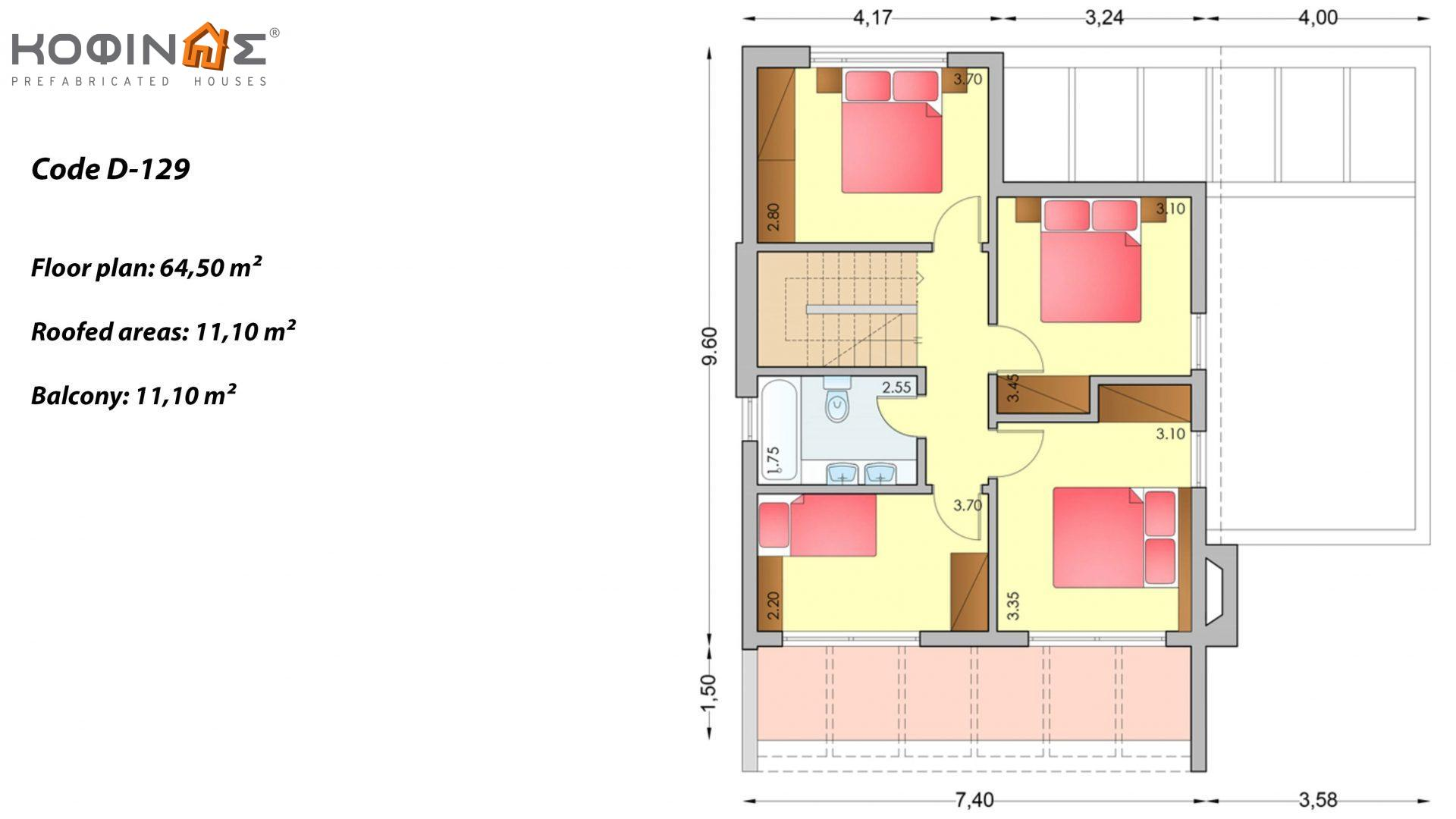 2-story house D-129, total surface of 129,50 m², +Garage 20.77 m²(=150.27 m²),roofed areas 40.70 m²,balconies 11.10 m²