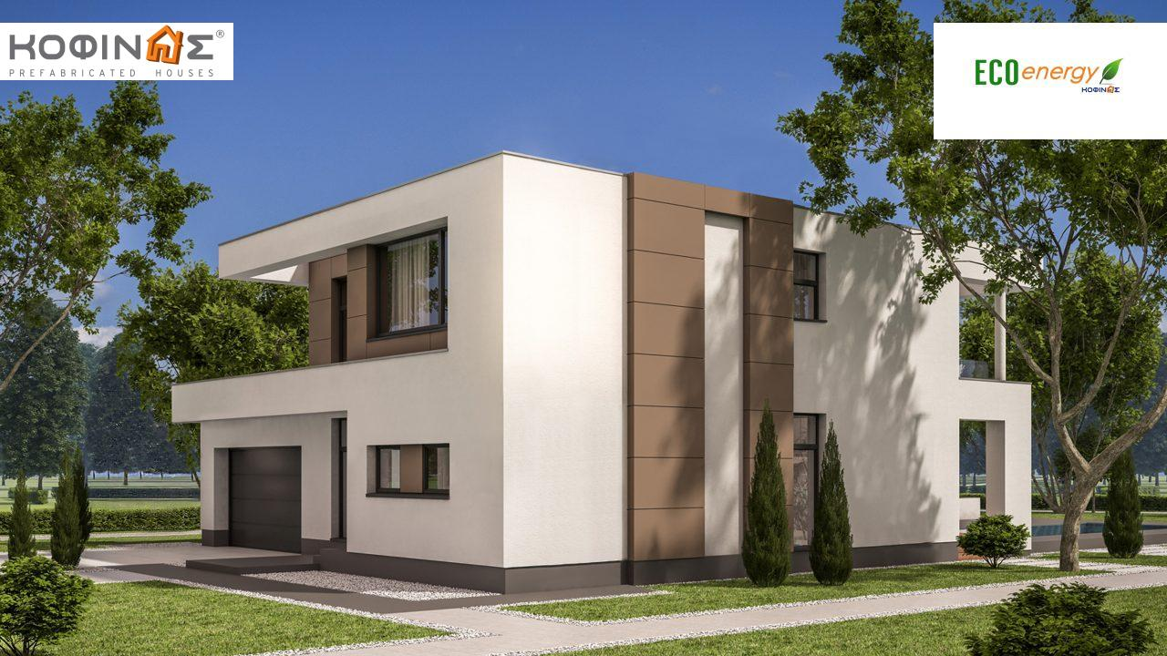 2-story house D-129, total surface of 129,50 m², +Garage 20.77 m²(=150.27 m²),roofed areas 40.70 m²,balconies 11.10 m²0