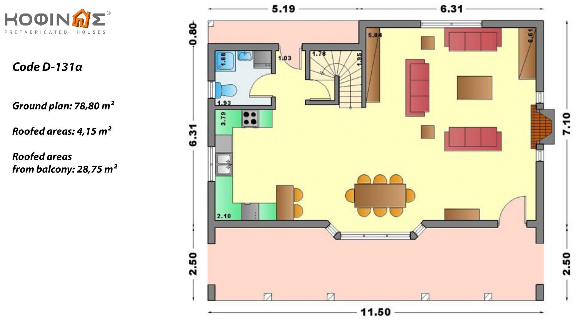 2-story house D-131a, total surface of 131,50 m²,roofed areas 76.70 m²,balconies 36.88 m²
