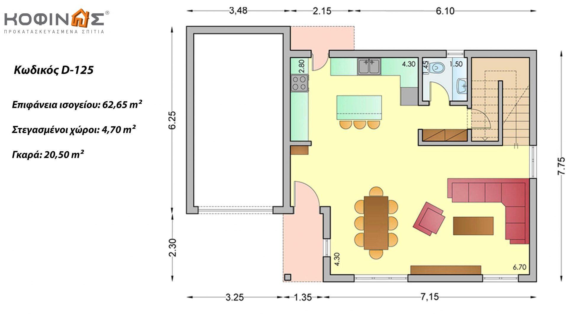Διώροφη Κατοικία D-125, συνολικής επιφάνειας 125,30 τ.μ., +Γκαράζ 20.50 m²(=145.80 m²),συνολική επιφάνεια στεγασμένων χώρων 4.70 τ.μ., μπαλκόνια 20.50 τ.μ.