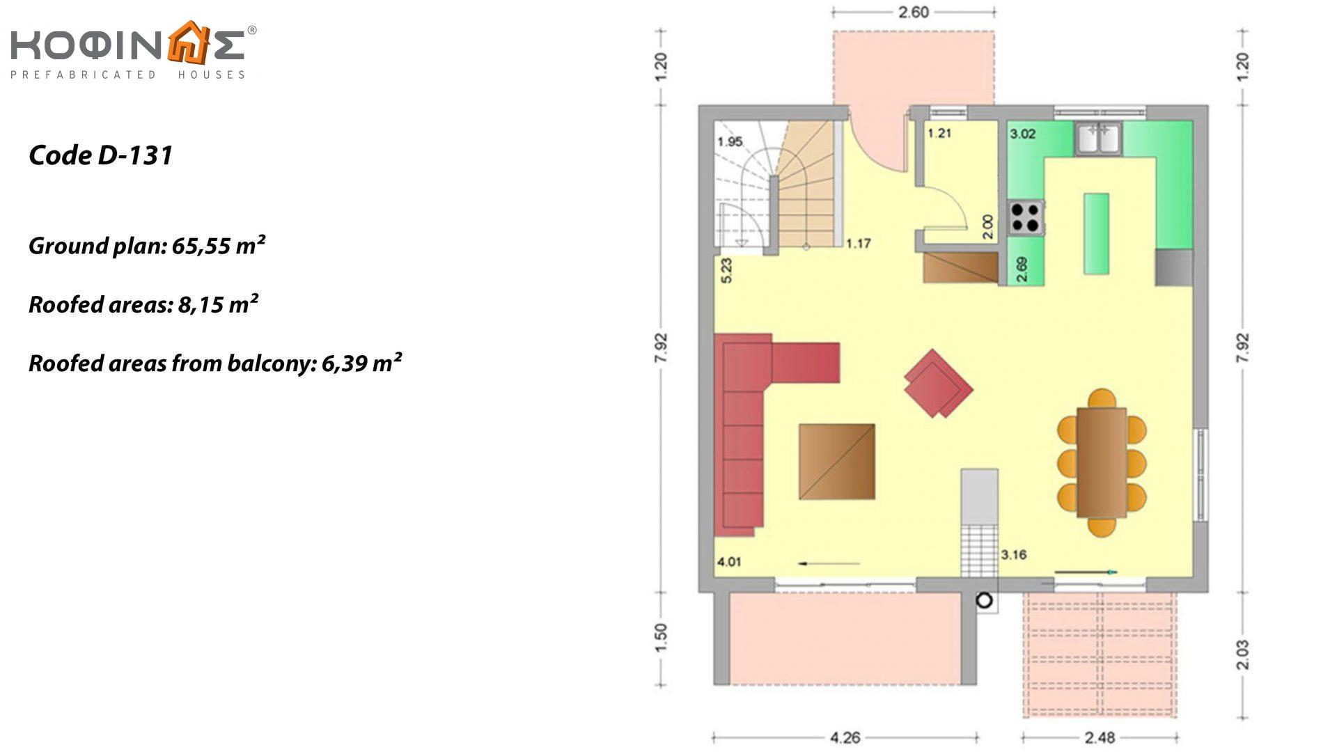 2-story house D-131, total surface of 131,10 m²,roofed areas 20.94 m²,balconies 6.40 m²