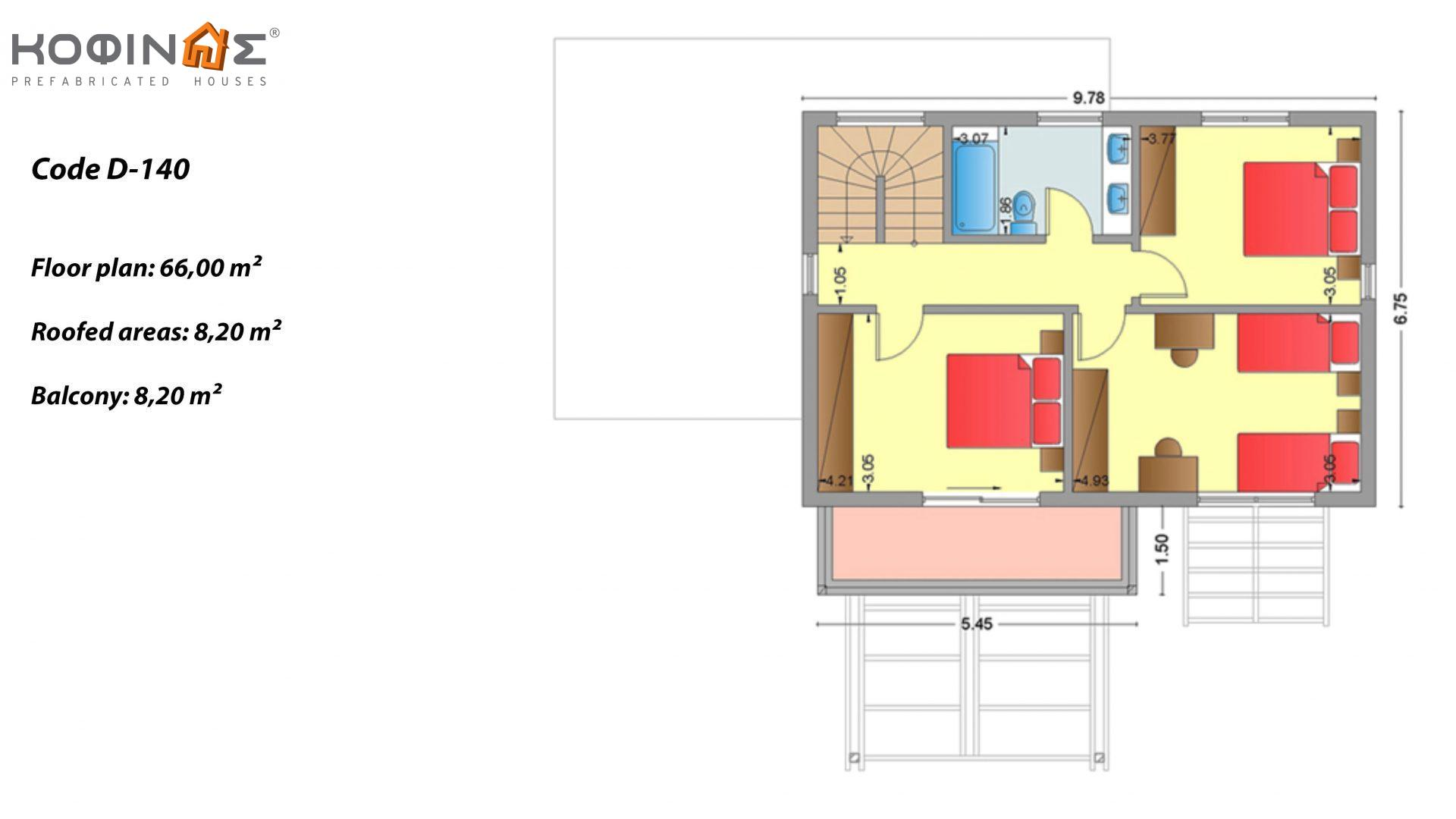 2-story house D-140, total surface of 140,20 m², +Garage 28.00 m²(=168.20 m²),roofed areas 33.00 m²,balconies 8.20 m²