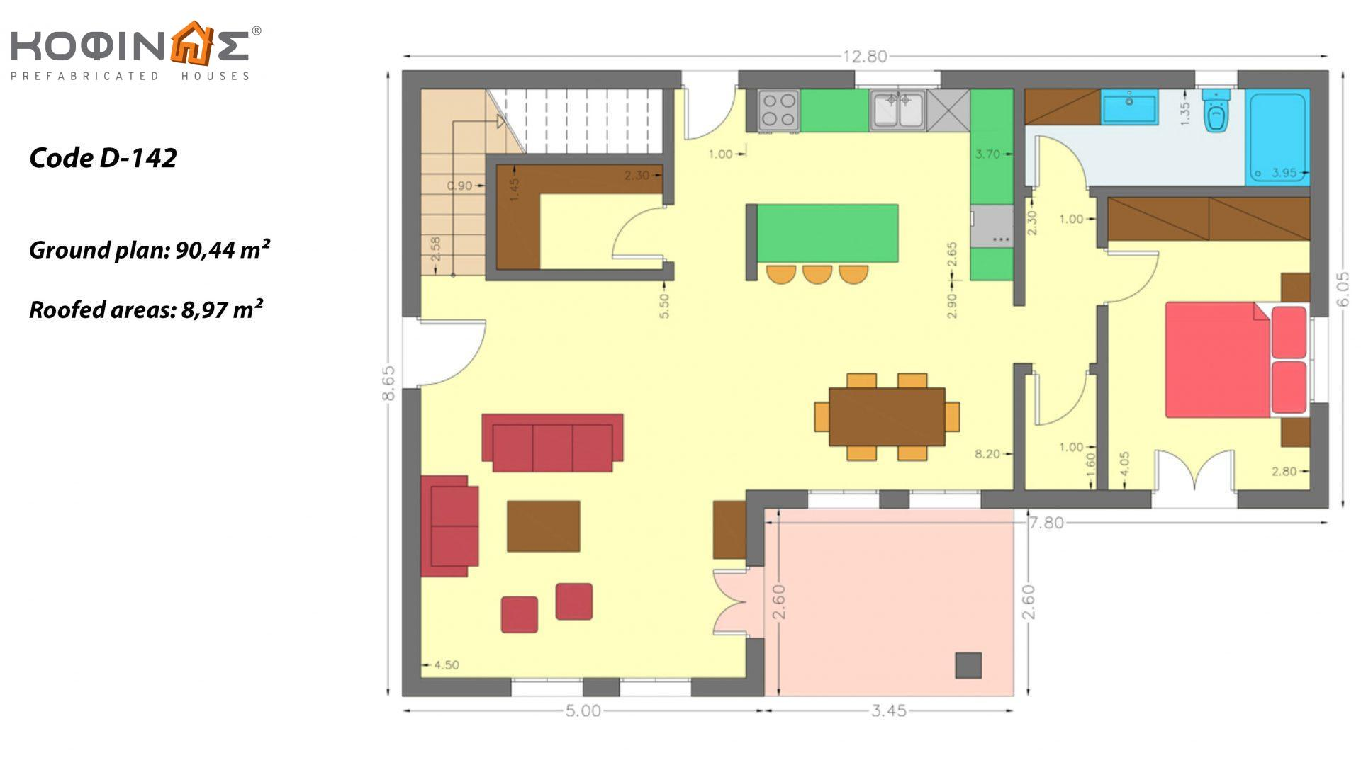 2-story house D-142, total surface of 142,47 m²,roofed areas 8,97 m²,balconies 38,41 m²